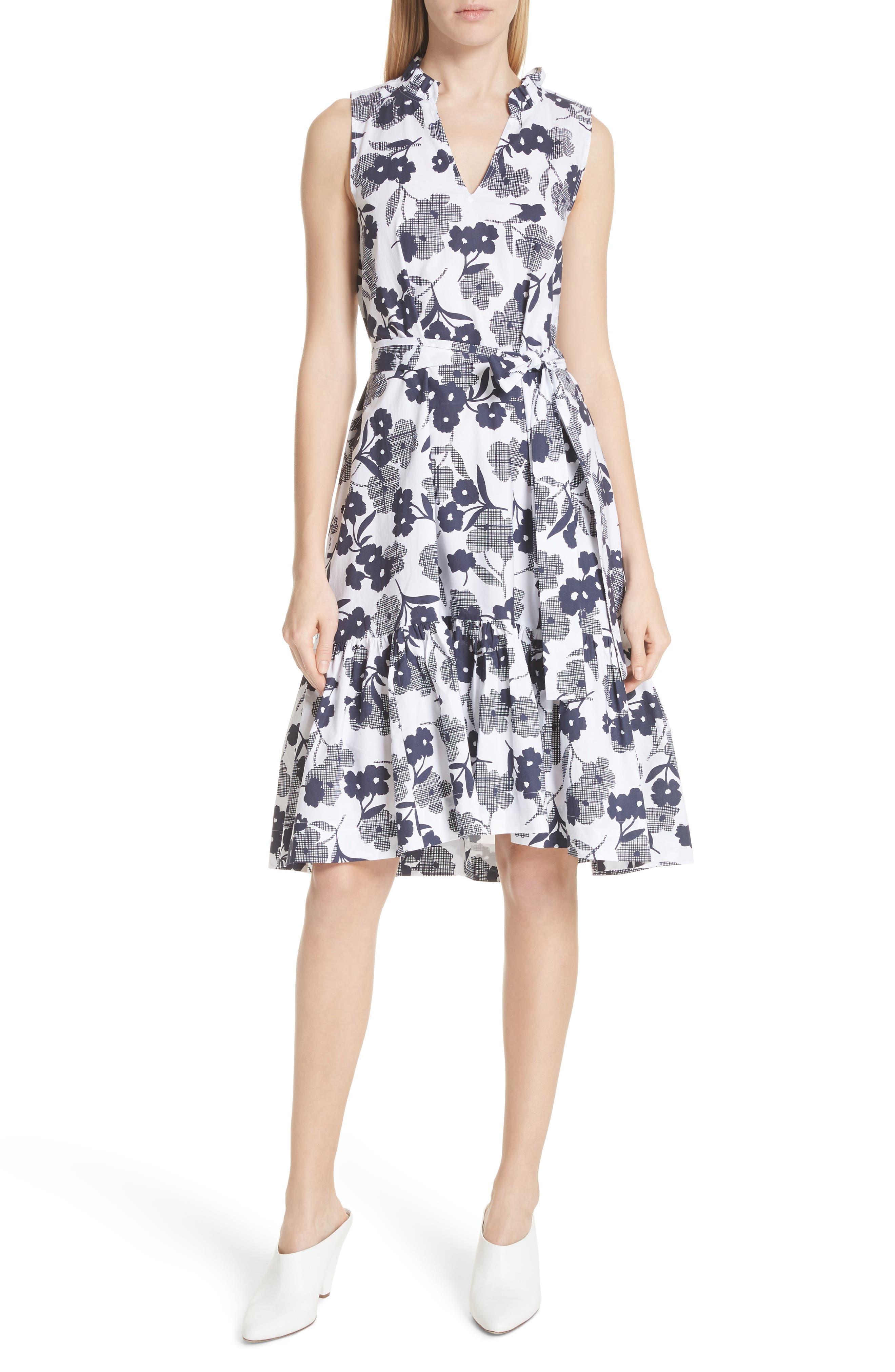 shadows fit & flare poplin dress,                         Main,                         color, Rich Navy