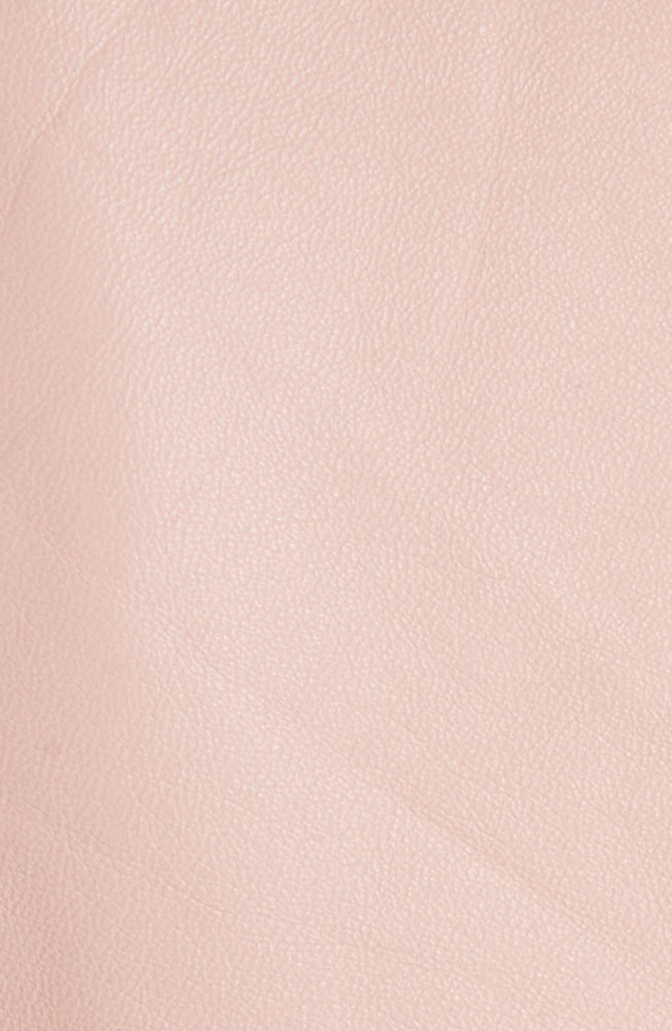 Ruffle Trim Leather Jacket,                             Alternate thumbnail 5, color,                             Rose Hip