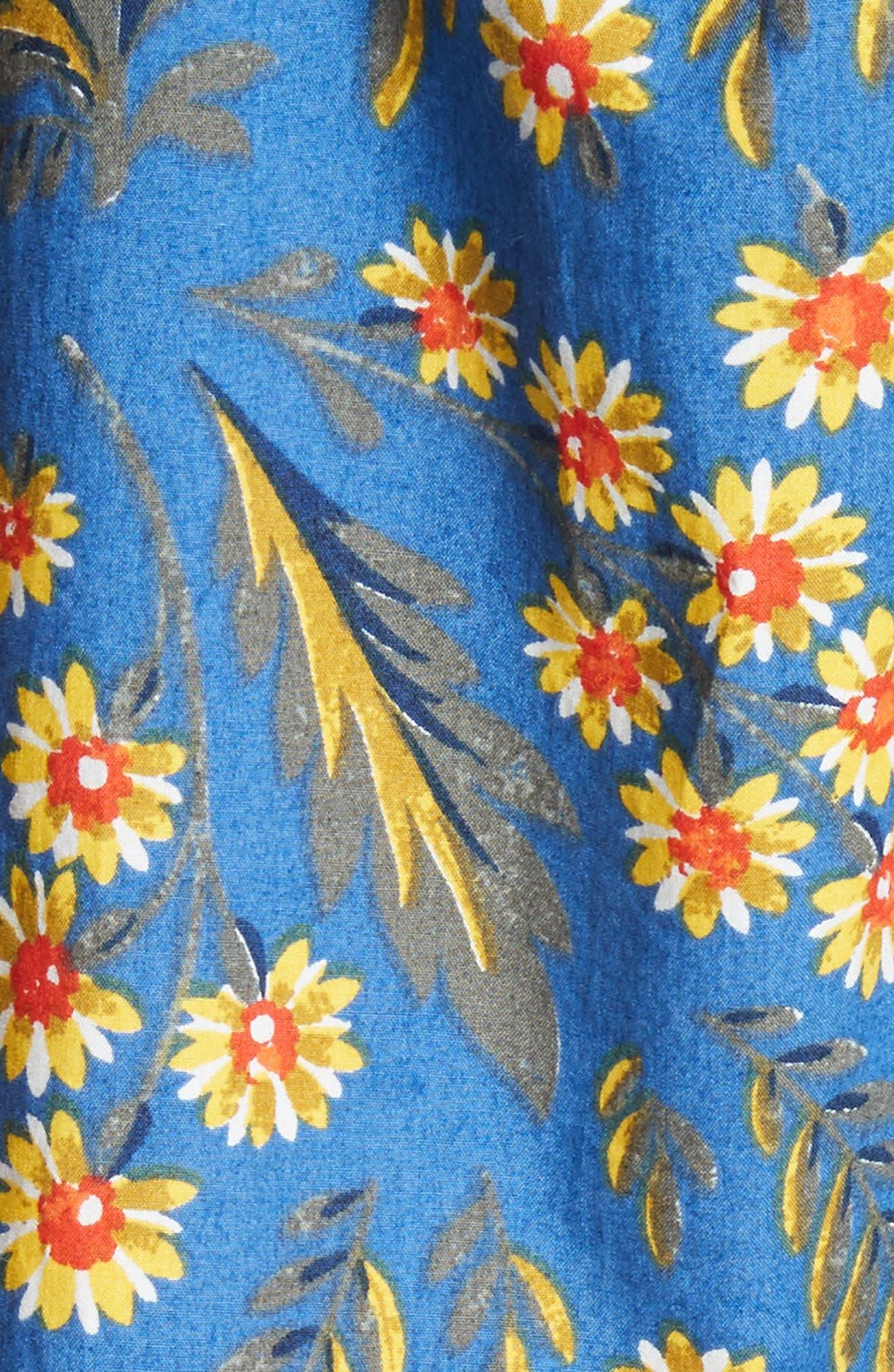 Chloris Off the Shoulder Cotton Dress,                             Alternate thumbnail 5, color,                             Baja Blue
