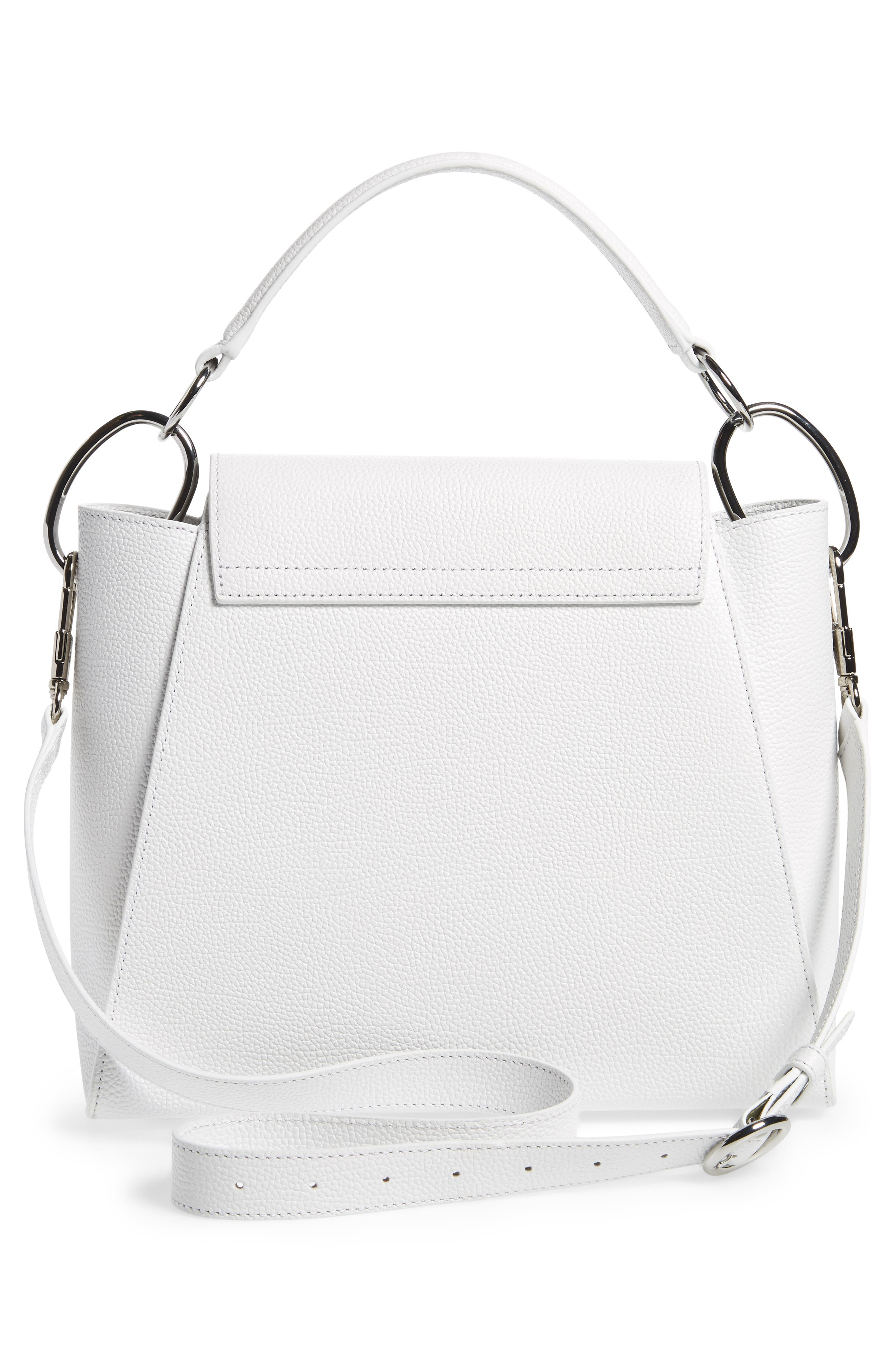 Leigh Top Handle Leather Satchel,                             Alternate thumbnail 3, color,                             Off White