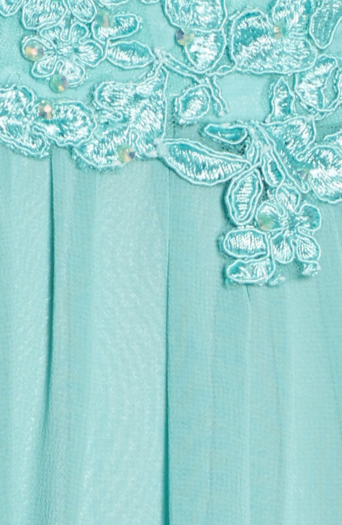 Embellished A-Line Chiffon Gown,                             Alternate thumbnail 5, color,                             Mint