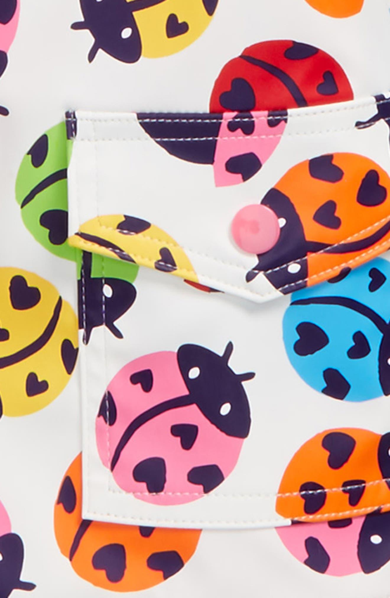 Rainbow Ladybugs Hooded Raincoat,                             Alternate thumbnail 2, color,                             Rainbow Ladybirds
