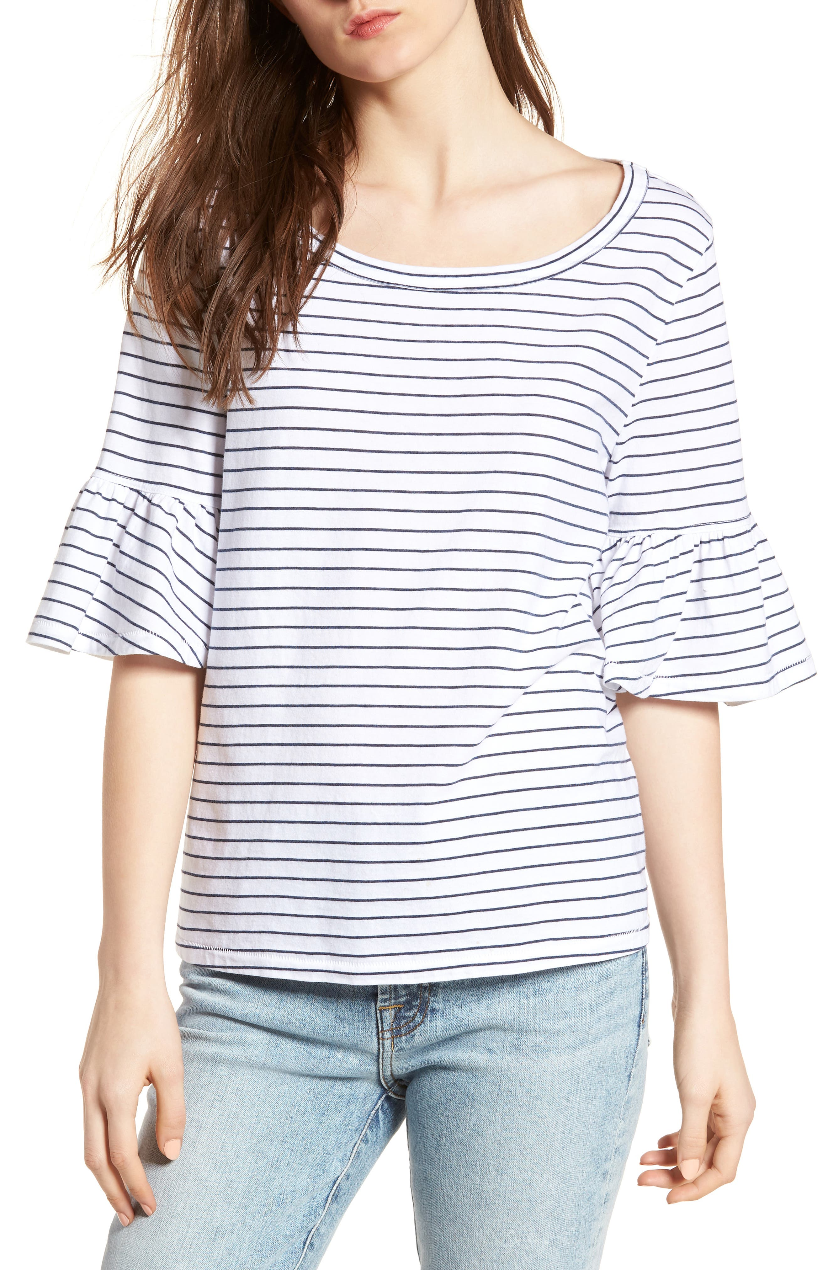 Stripe Ruffle Sleeve Tee,                         Main,                         color, White/ Navy