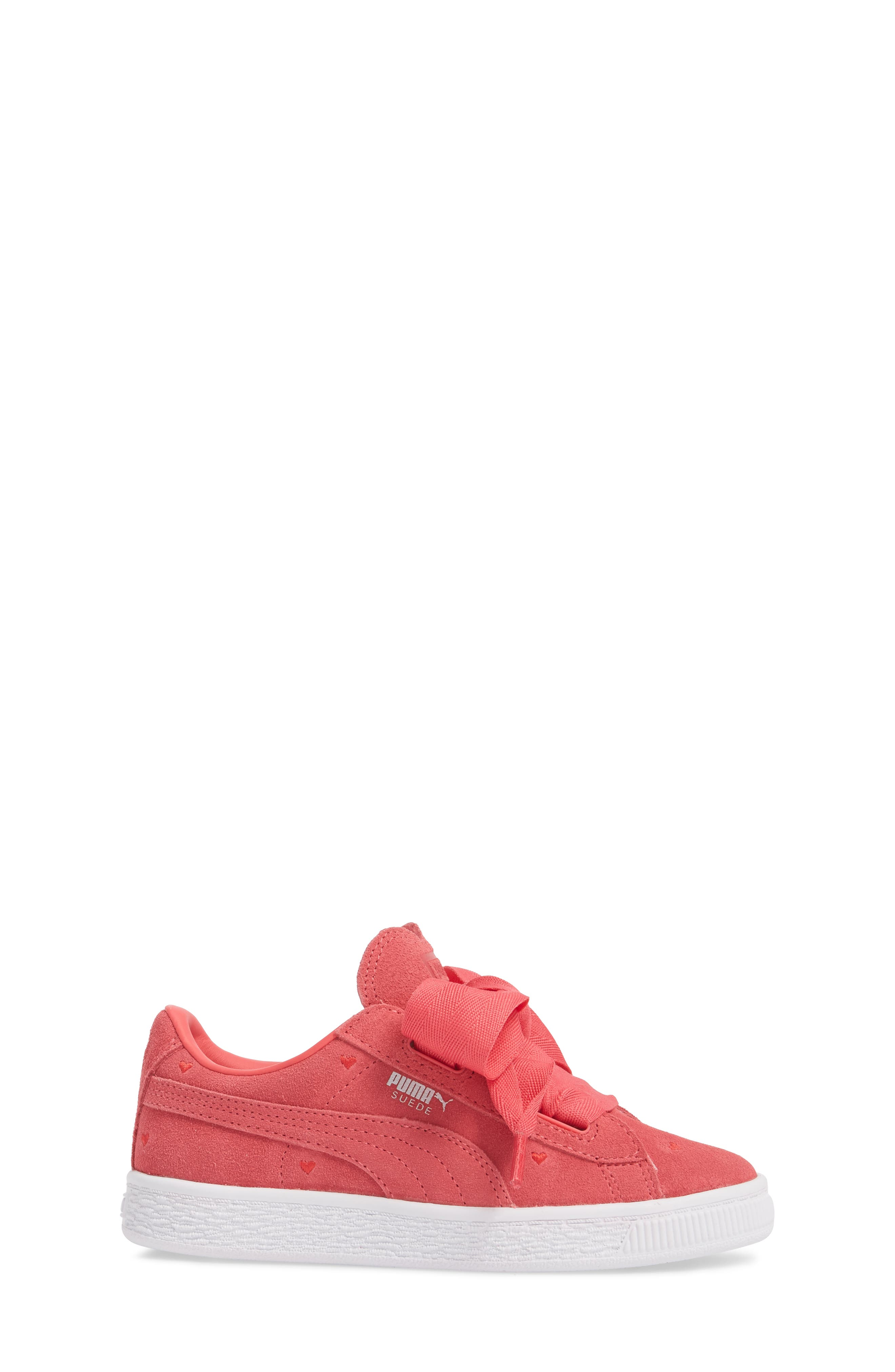 Suede Heart Valentine Sneaker,                             Alternate thumbnail 3, color,                             Paradise Pink/ Paradise Pink