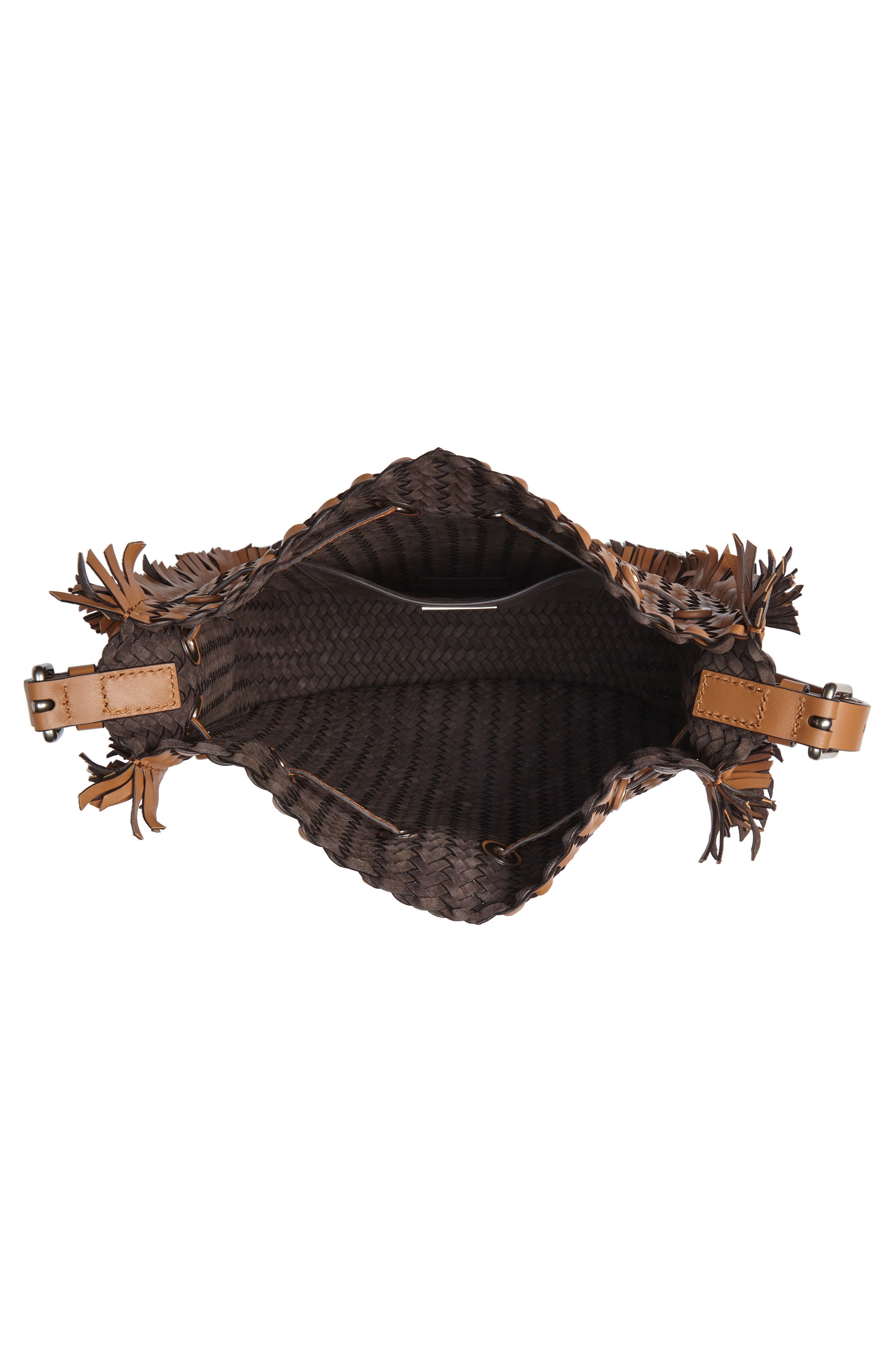 Maldives Woven Frayed Leather Crossbody Bag,                             Alternate thumbnail 4, color,                             Acorn