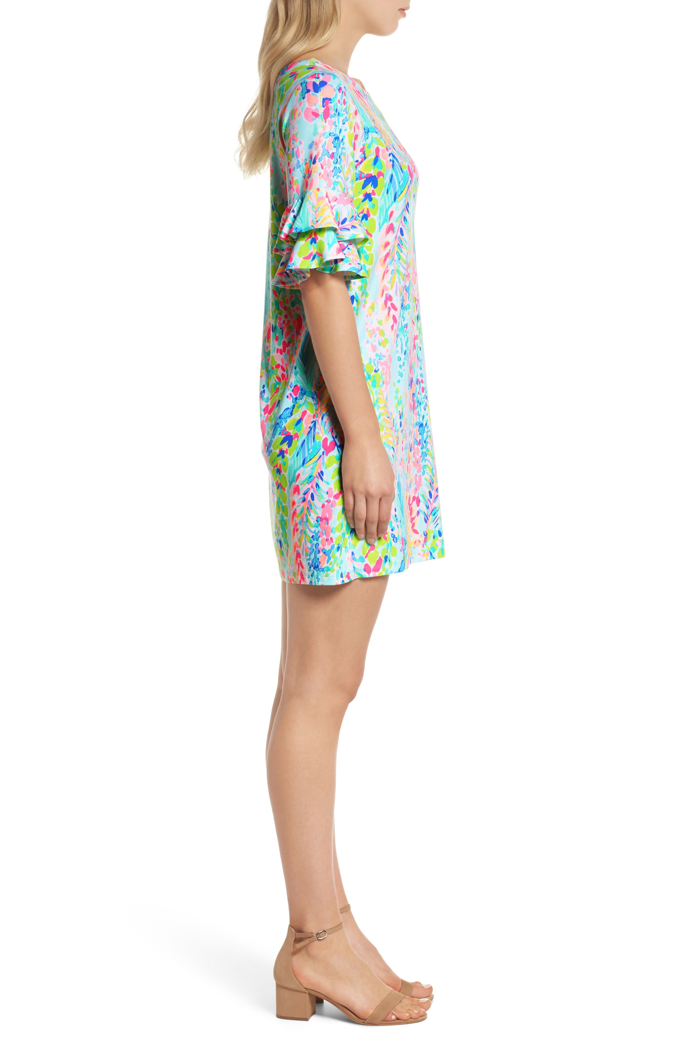 Lula Ruffle Sleeve Dress,                             Alternate thumbnail 4, color,                             Multi Catch The Wave