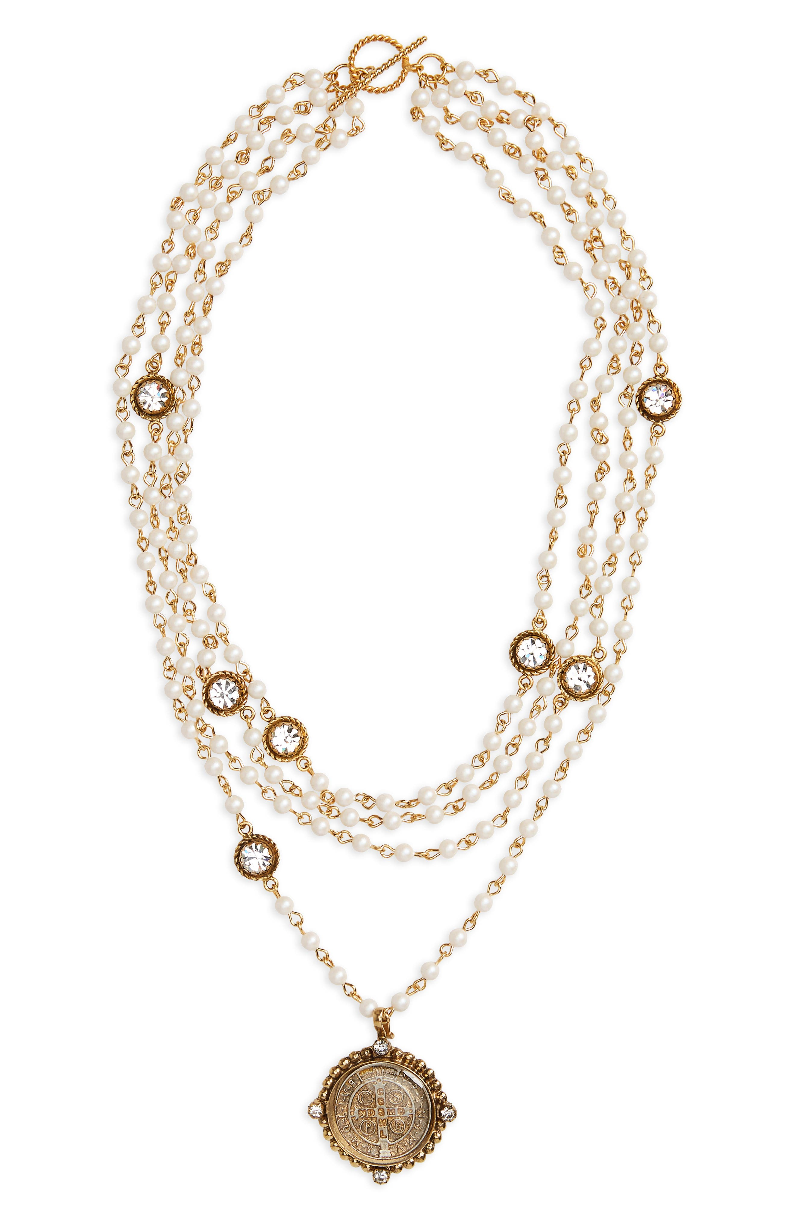 San Benito Magdalena Imitation Pearl Necklace,                             Main thumbnail 1, color,                             Iridescent Pearl/ Clear