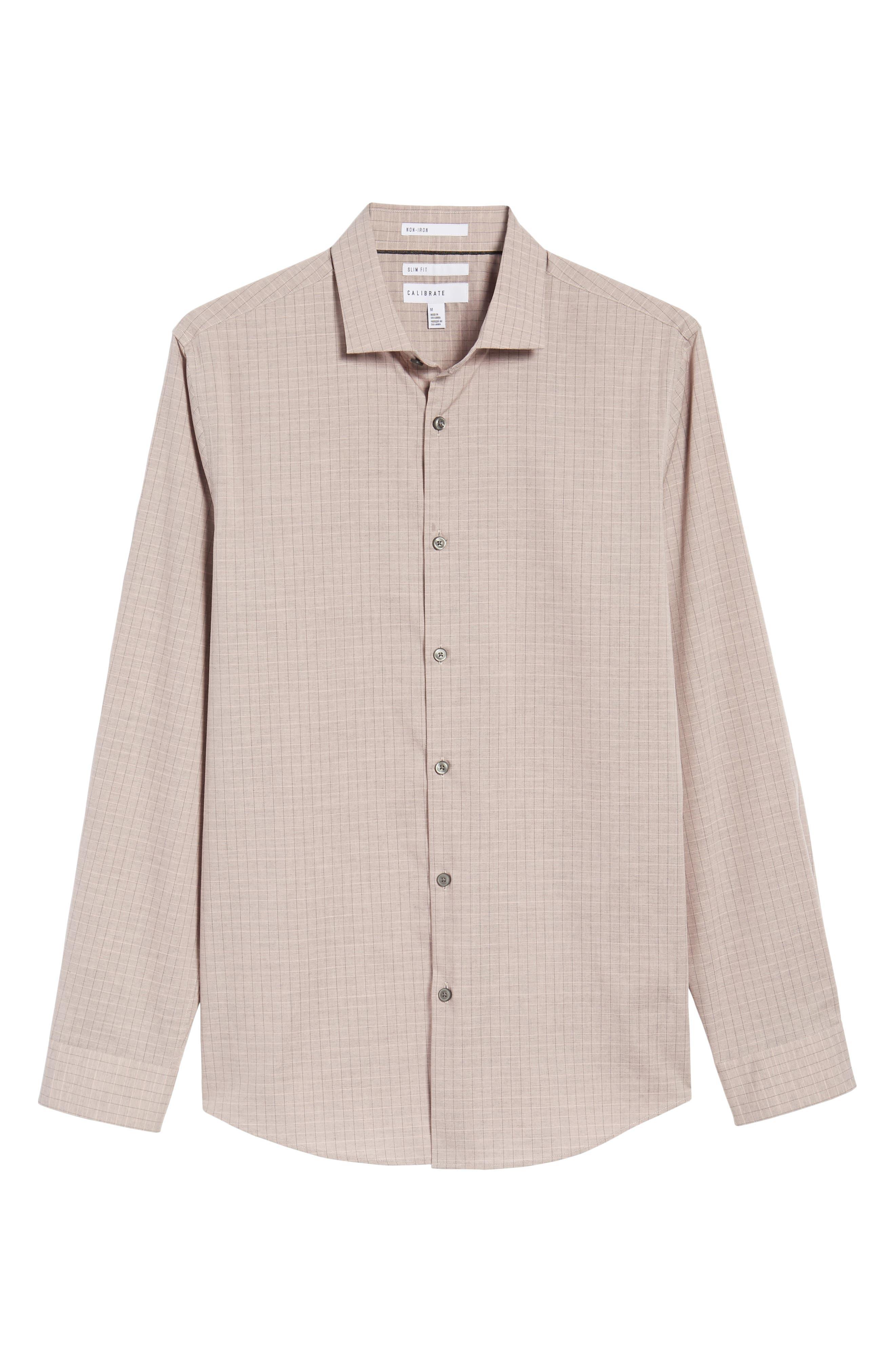 Grid Sport Shirt,                             Alternate thumbnail 6, color,                             Pink Silver Heather Grid