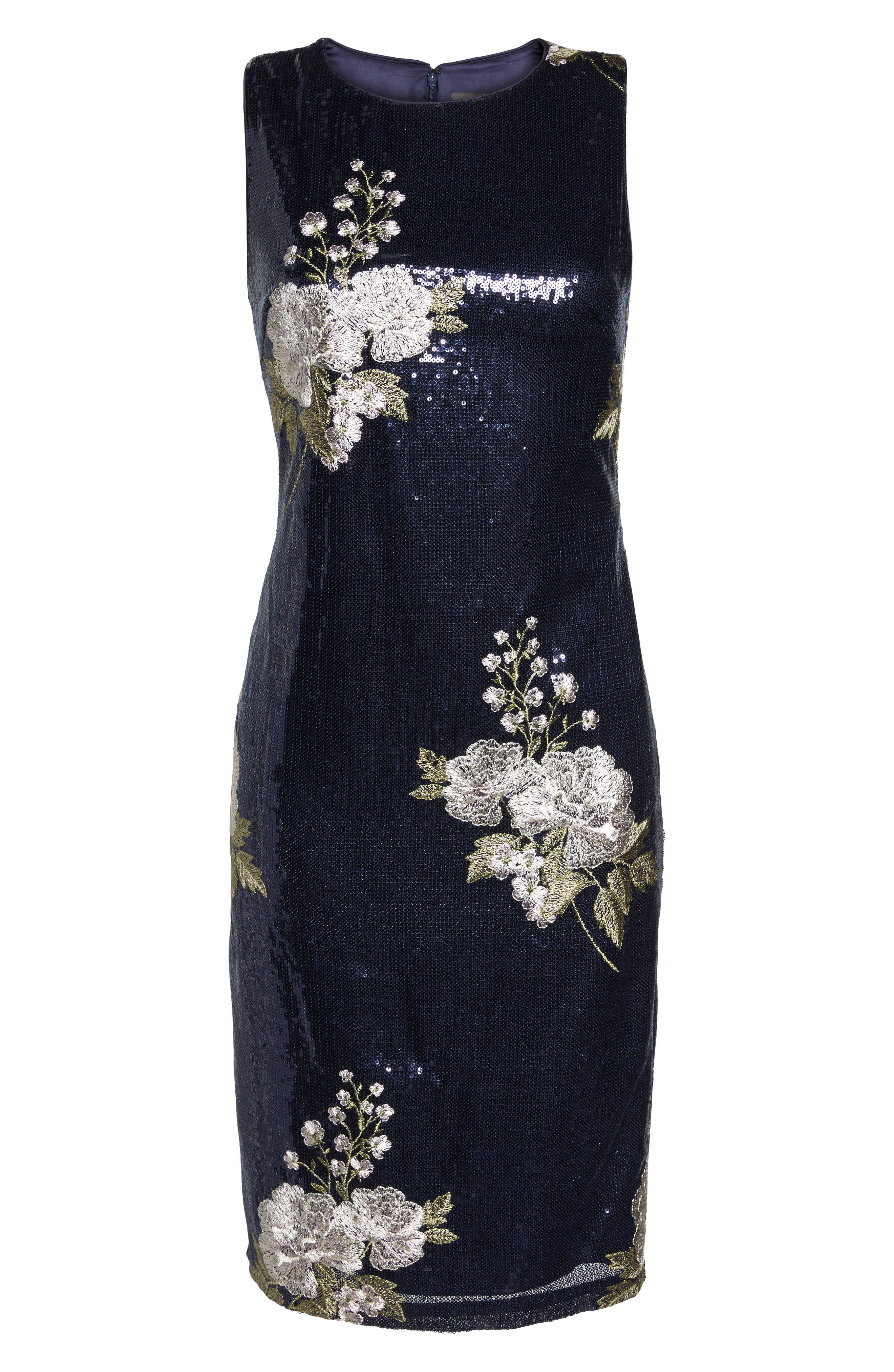 Sequin & Embroidery Sheath Dress,                             Alternate thumbnail 6, color,                             Navy