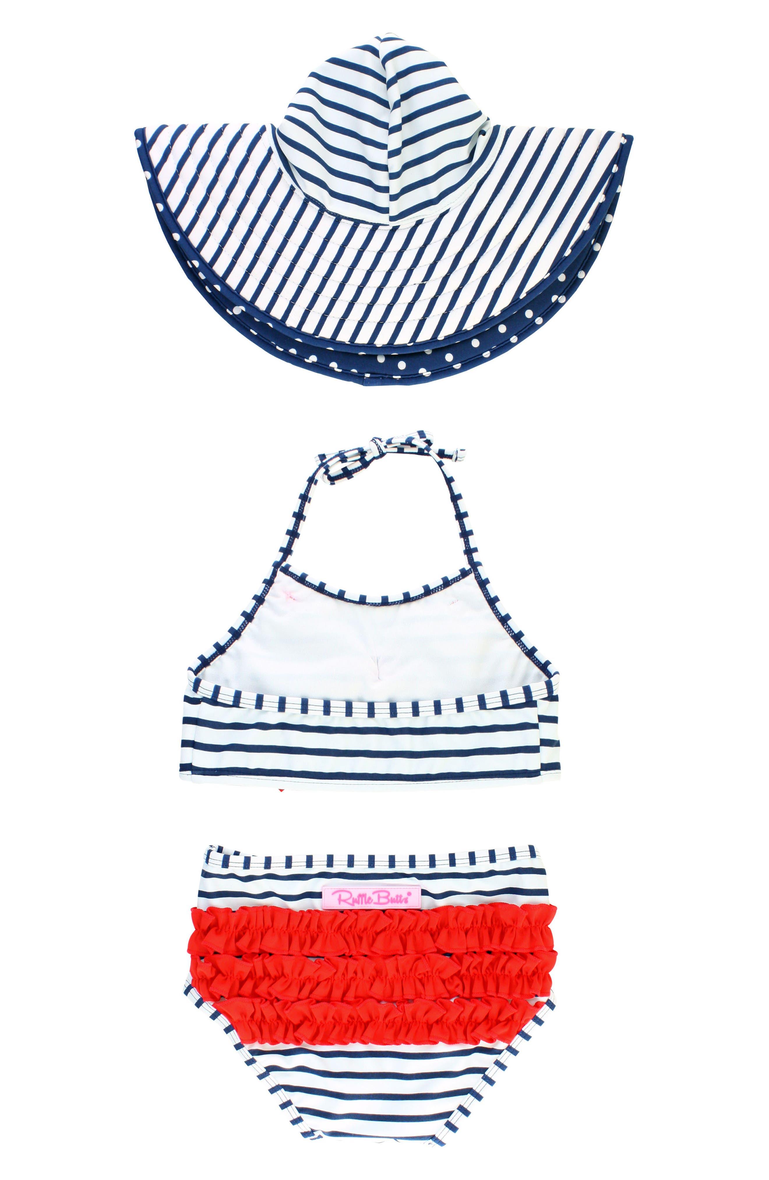 Stripe Two-Piece Swimsuit & Reversible Sun Hat Set,                             Alternate thumbnail 2, color,                             Navy