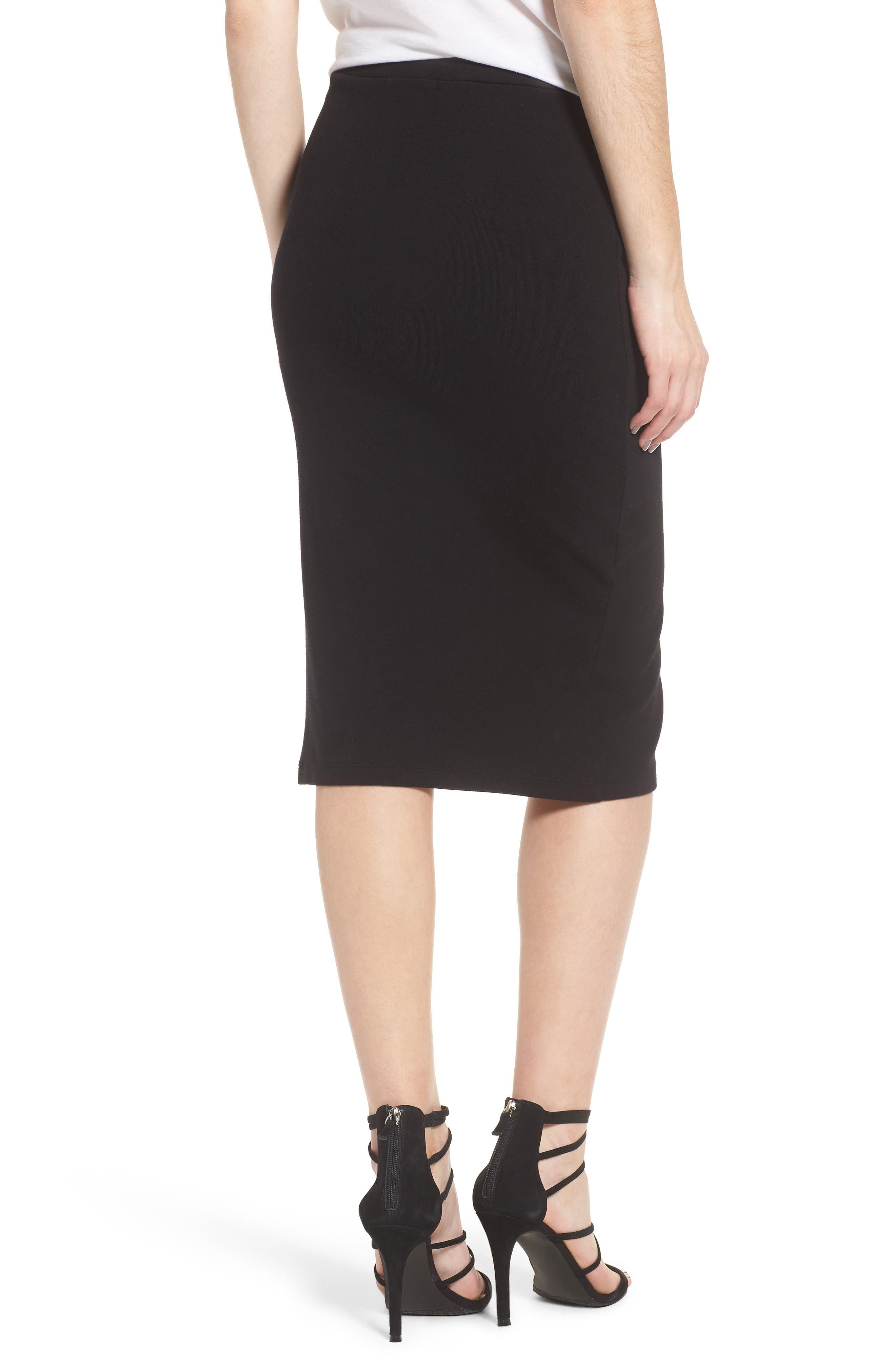 Rib Knit Lace-Up Skirt,                             Alternate thumbnail 2, color,                             Black