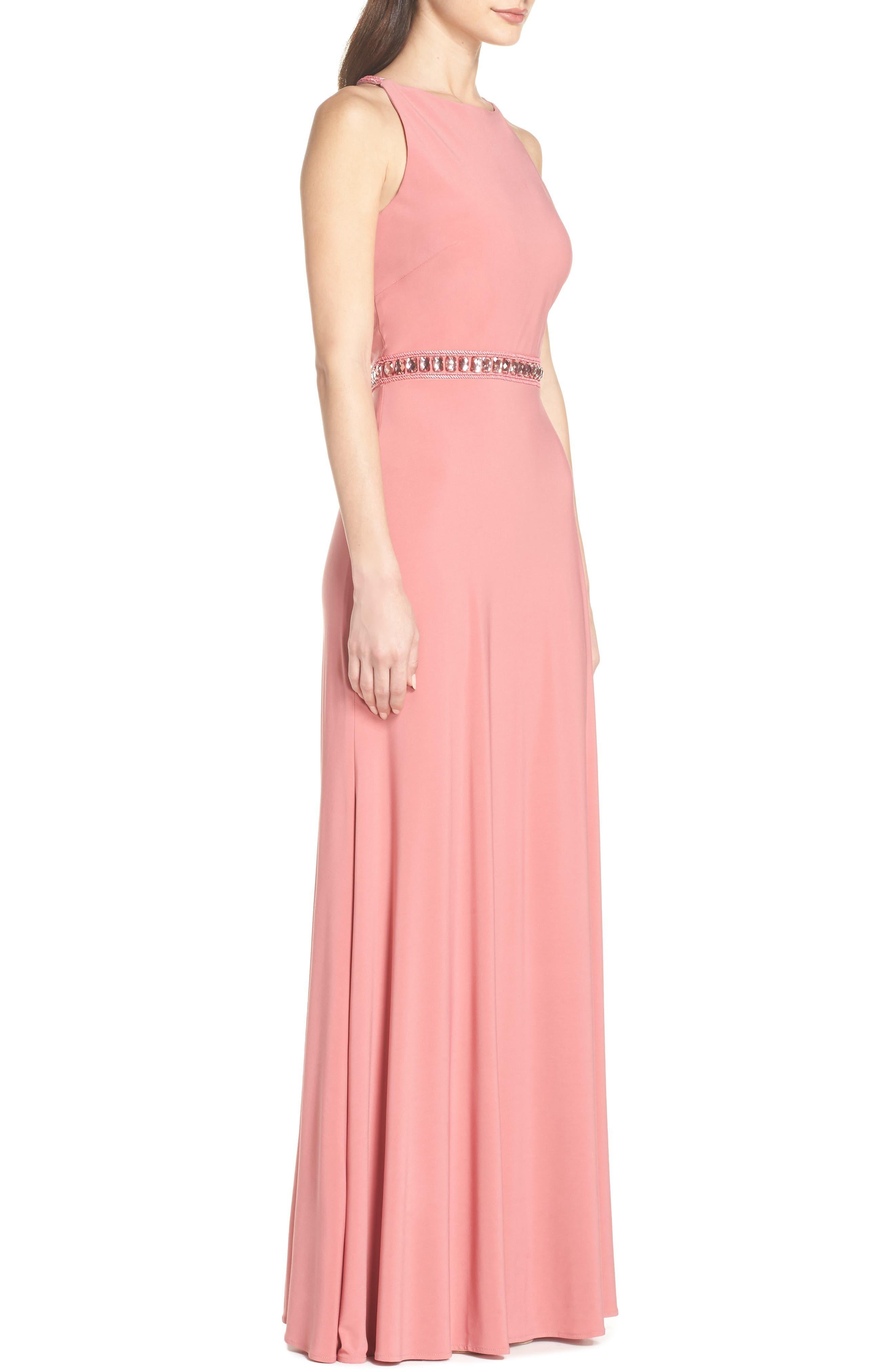 Sparkle Waist Gown,                             Alternate thumbnail 3, color,                             Rose Pink