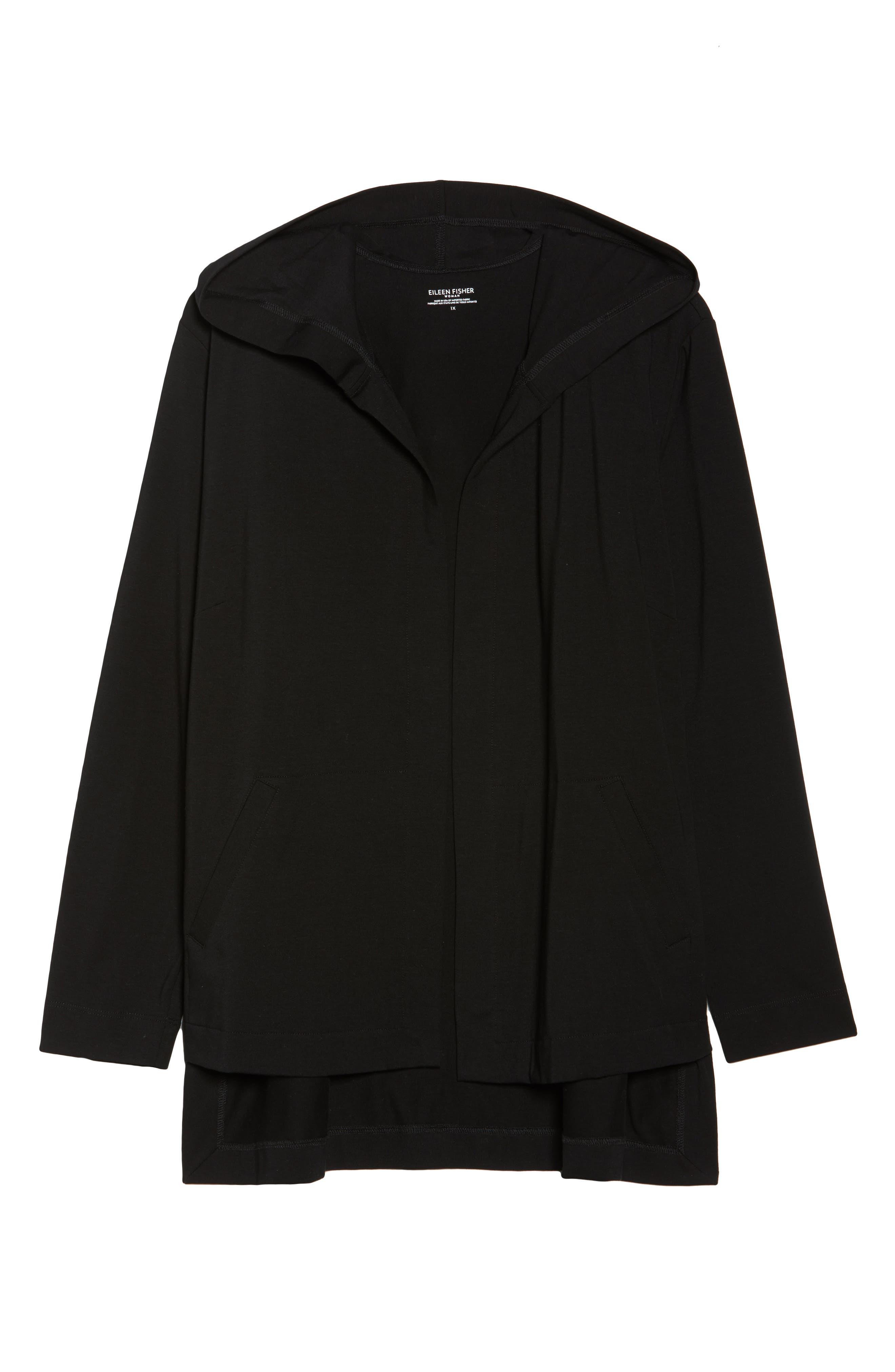 Stretch Organic Cotton Hooded Cardigan,                             Alternate thumbnail 6, color,                             Black