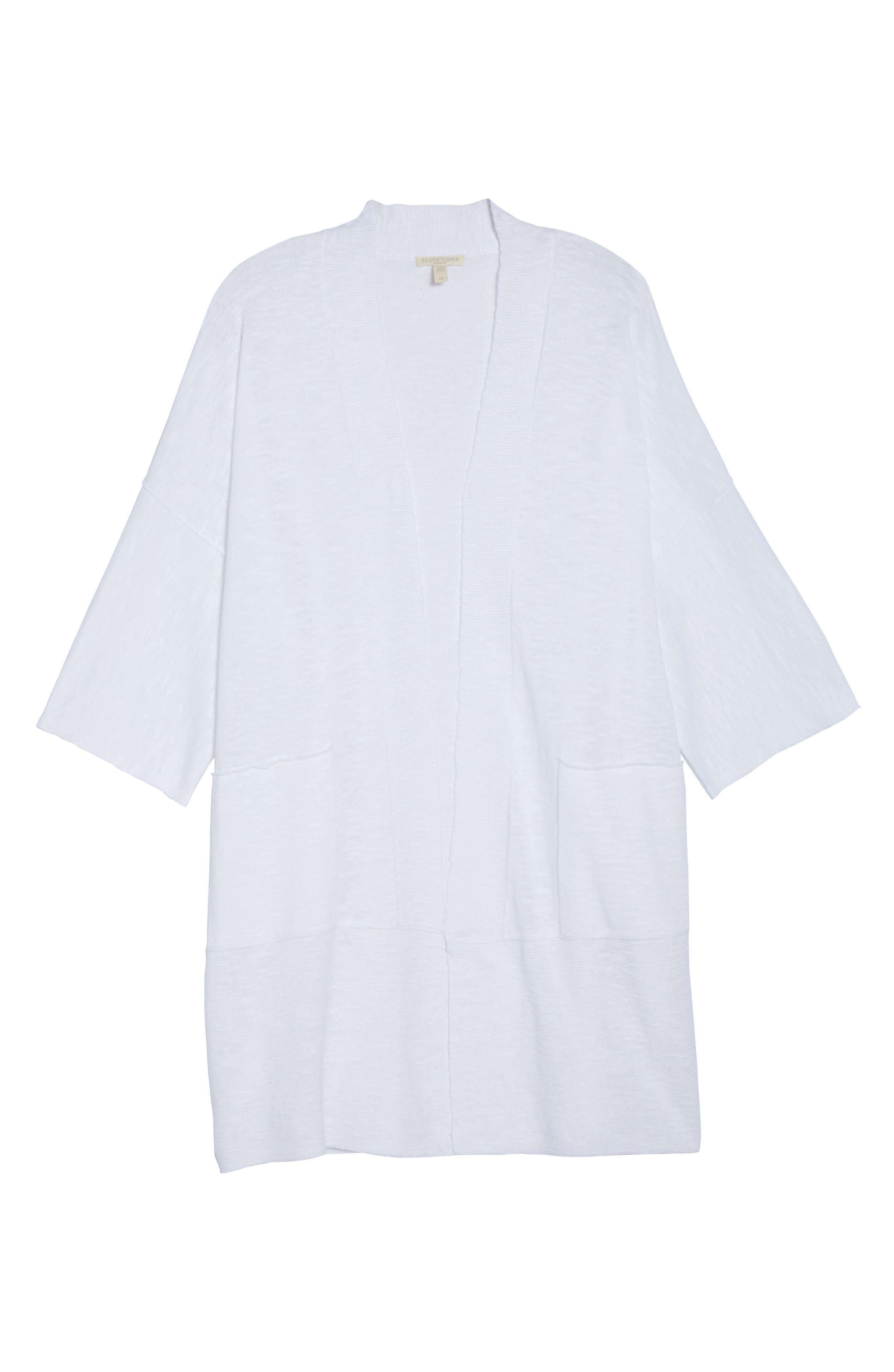 Organic Linen & Cotton Kimono Cardigan,                             Alternate thumbnail 7, color,                             White