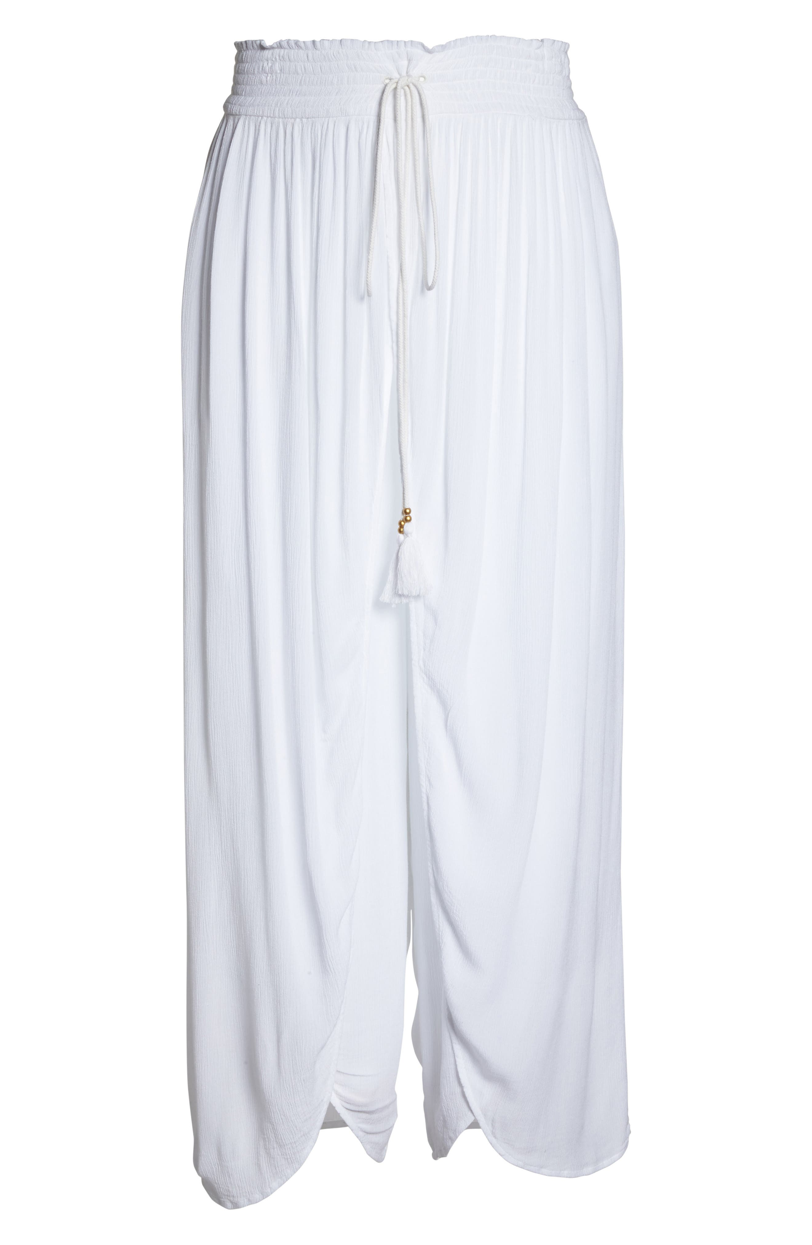 Gauze Cover-Up Pants,                             Alternate thumbnail 6, color,                             White
