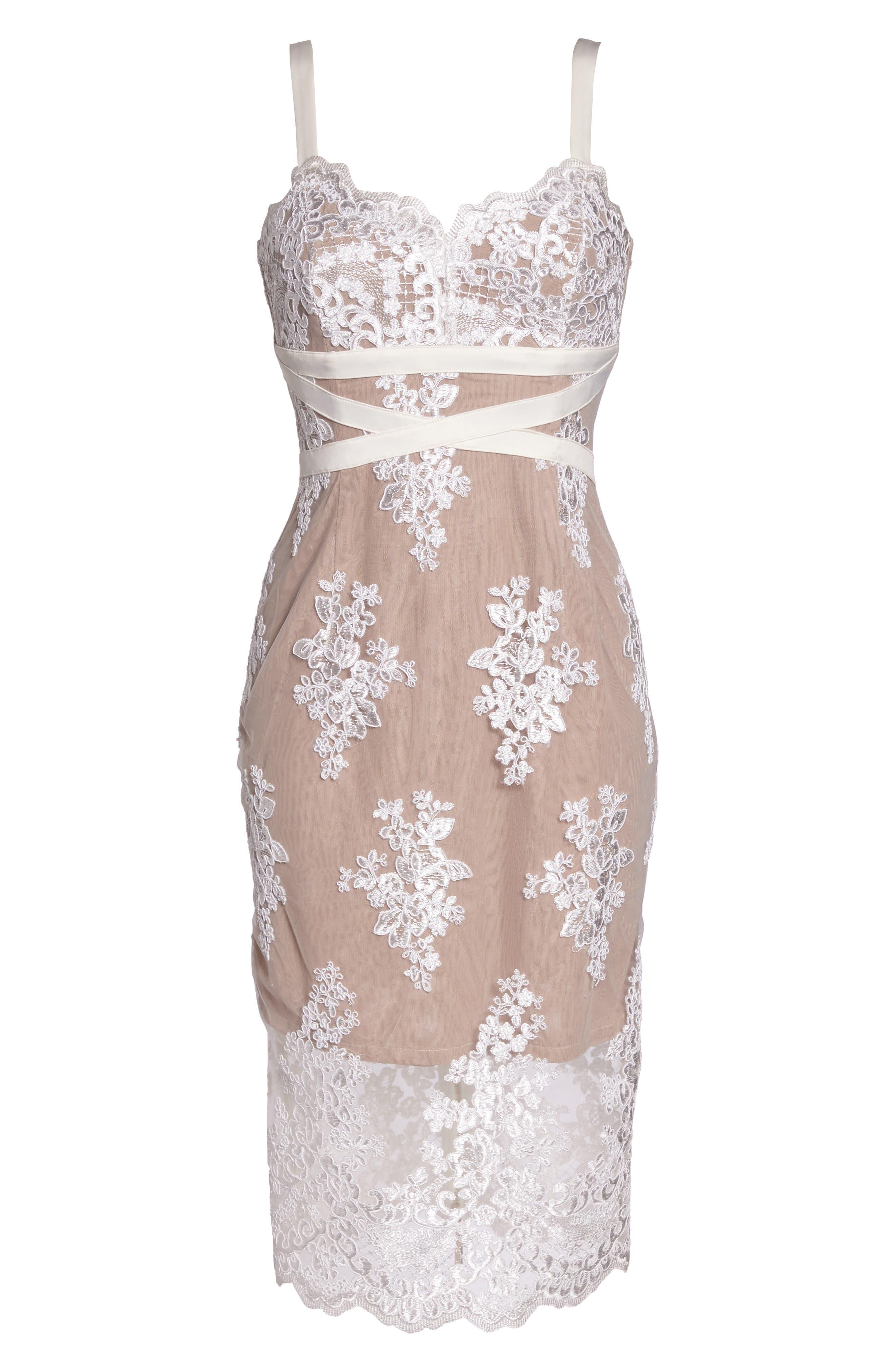 Camilla Lace Sheath Dress,                             Alternate thumbnail 6, color,                             White