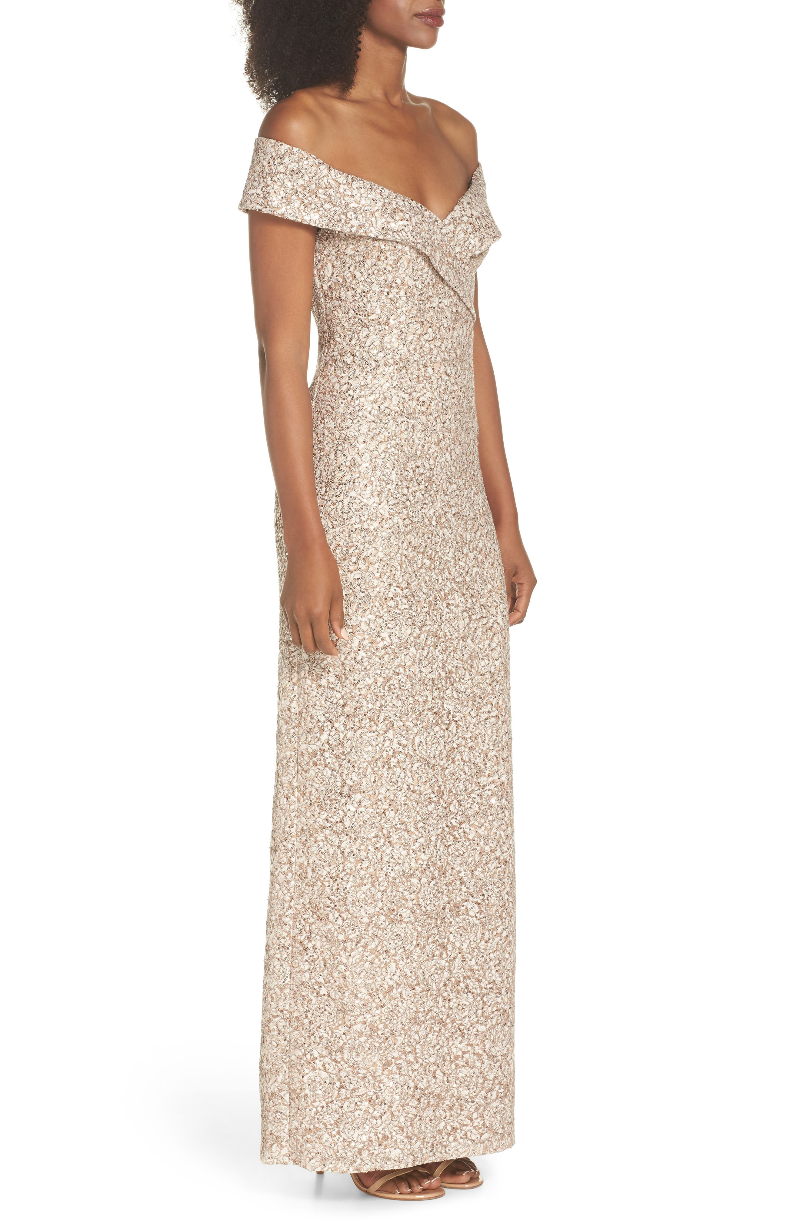 Off the Shoulder Sequin & Lace Gown,                             Alternate thumbnail 3, color,                             Taupe
