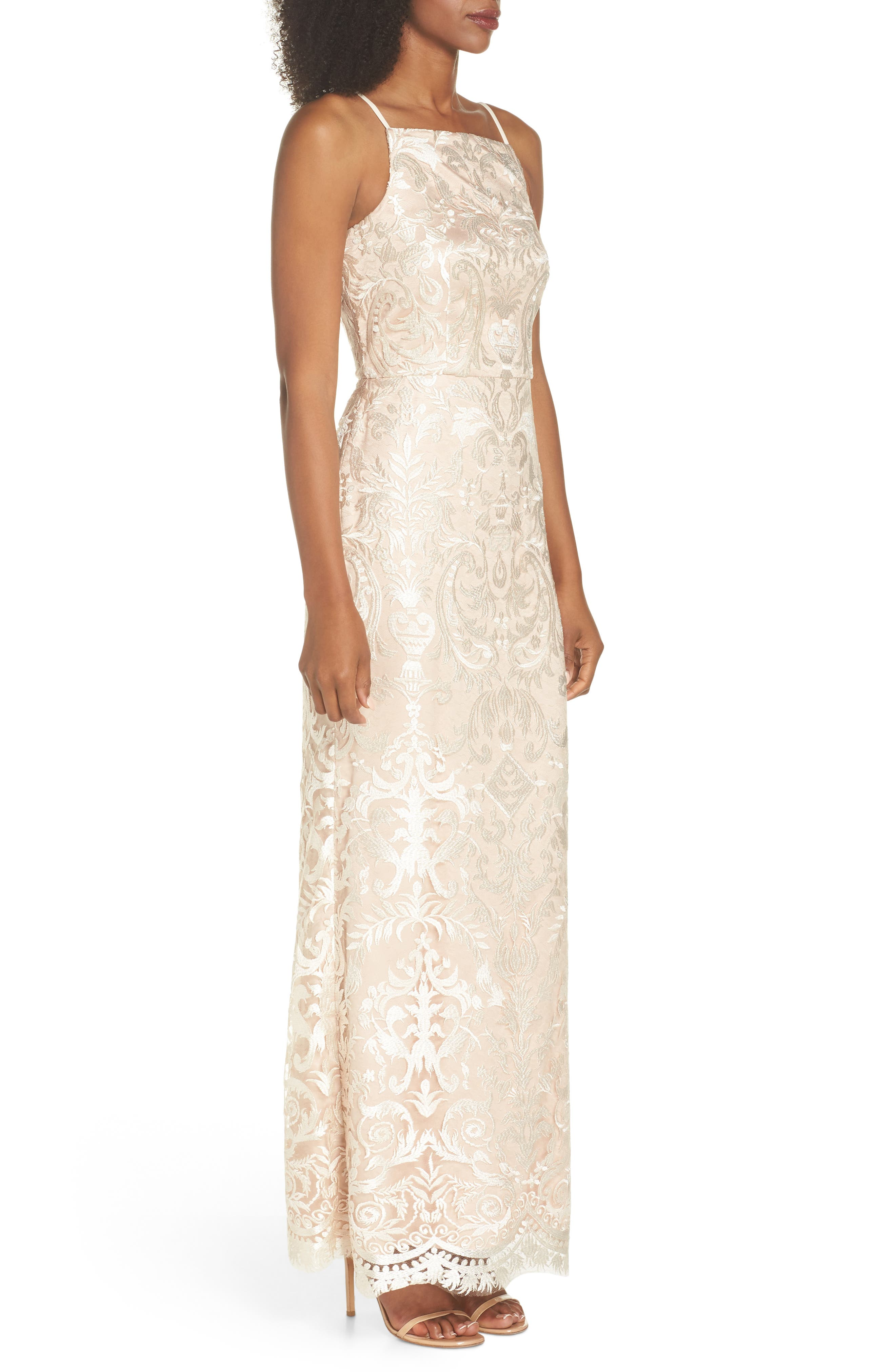 Sleeveless Embroidered Gown,                             Alternate thumbnail 3, color,                             Champagne