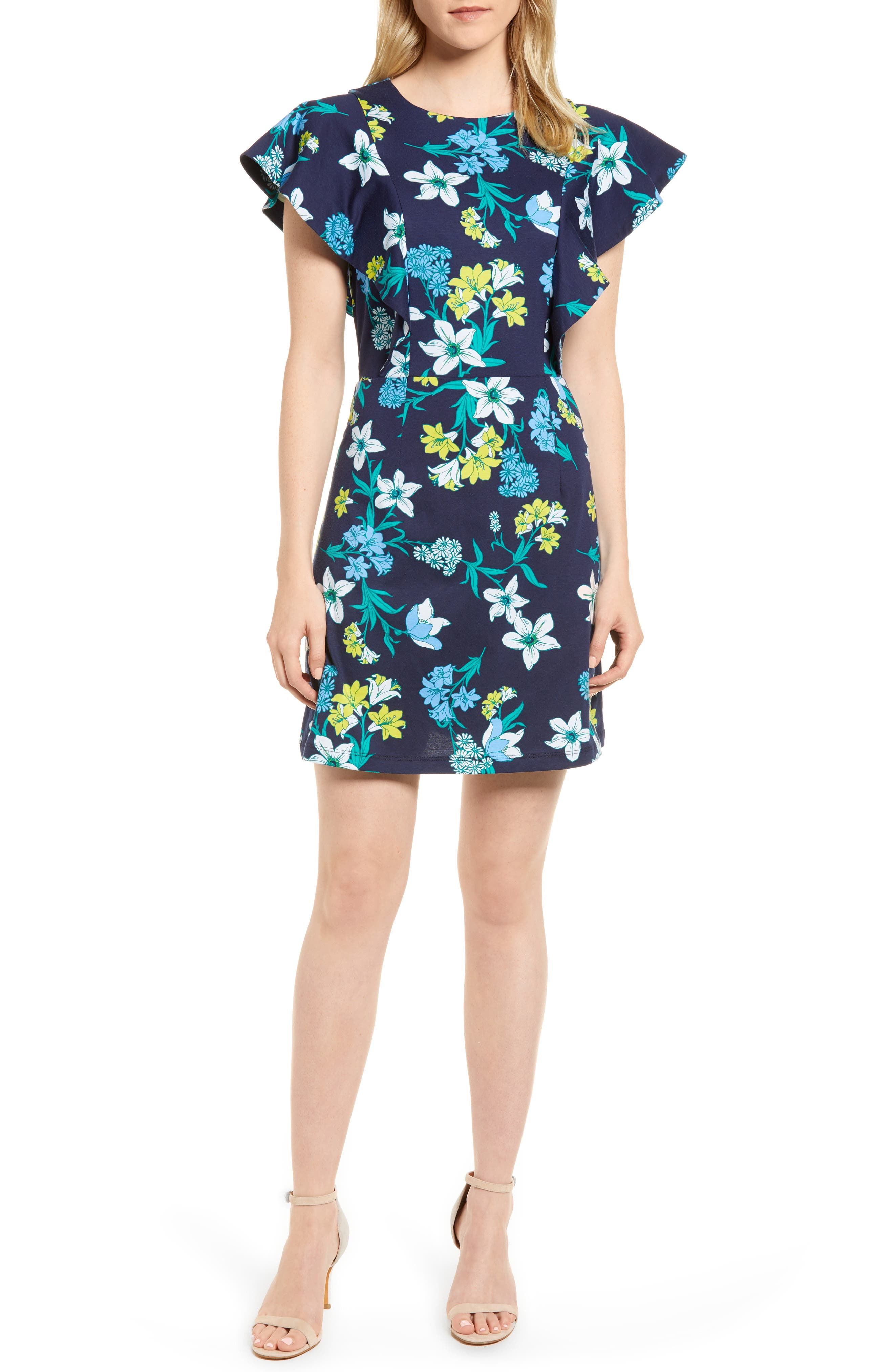 Floral Ruffle Cotton Dress,                         Main,                         color, Navy