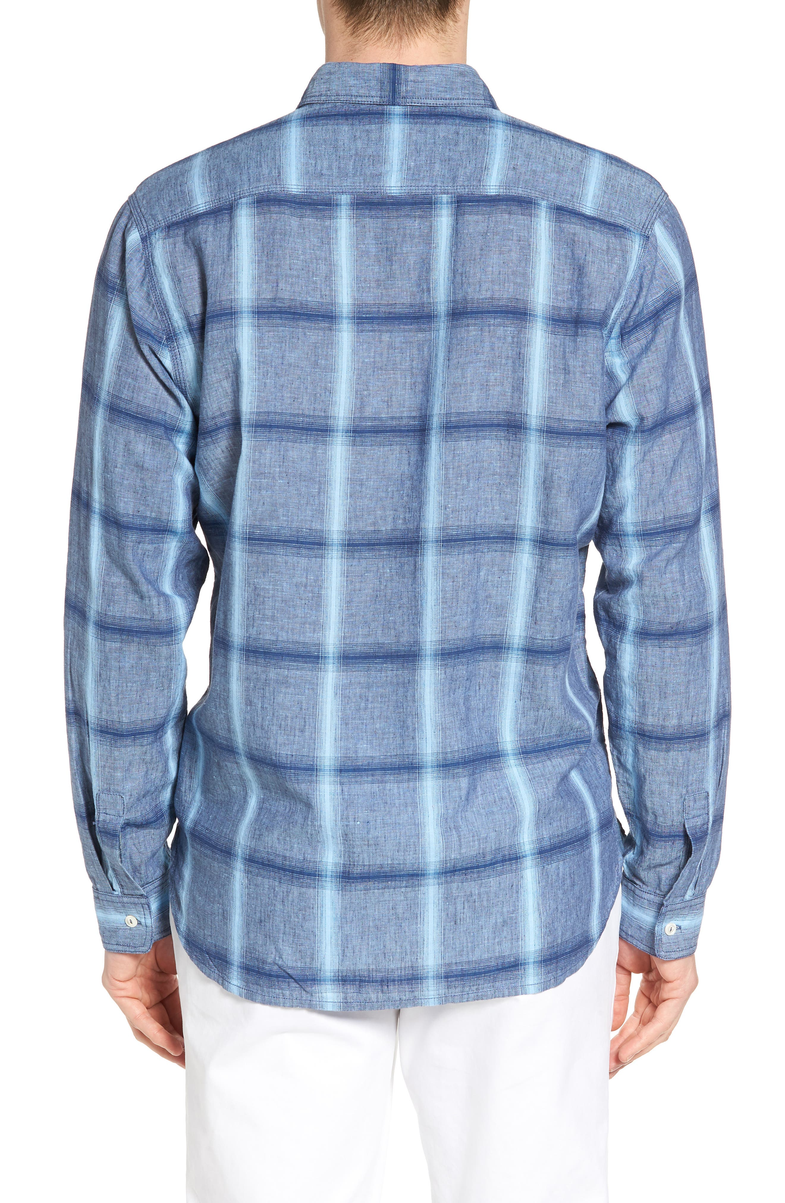 Alternate Image 2  - True Grit Rincon Plaid Linen Blend Chambray Sport Shirt