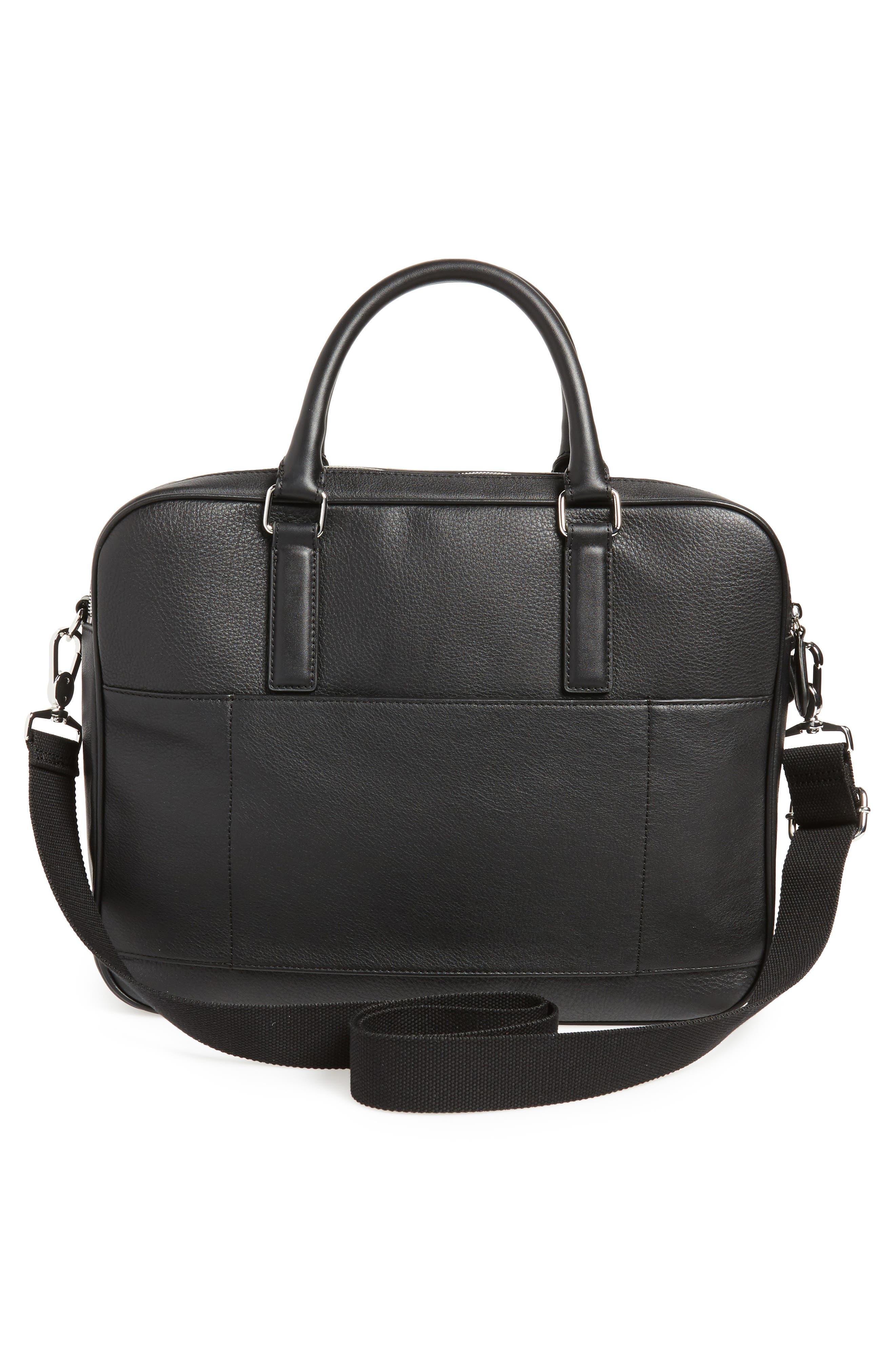 Toother Leather Briefcase,                             Alternate thumbnail 3, color,                             Black