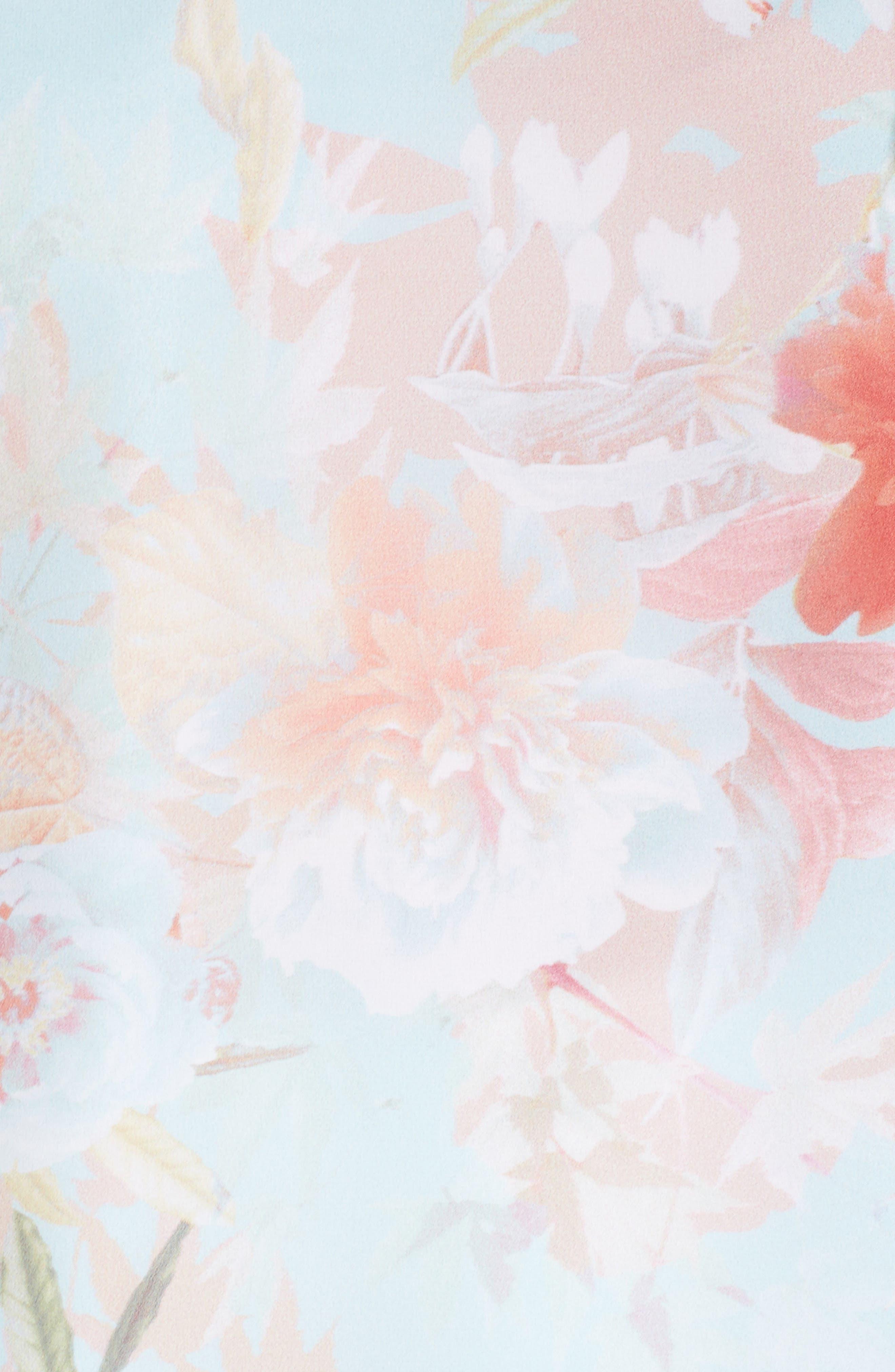 Faded Bloom Ruffle Sleeve Blouse,                             Alternate thumbnail 5, color,                             Aqua Glow