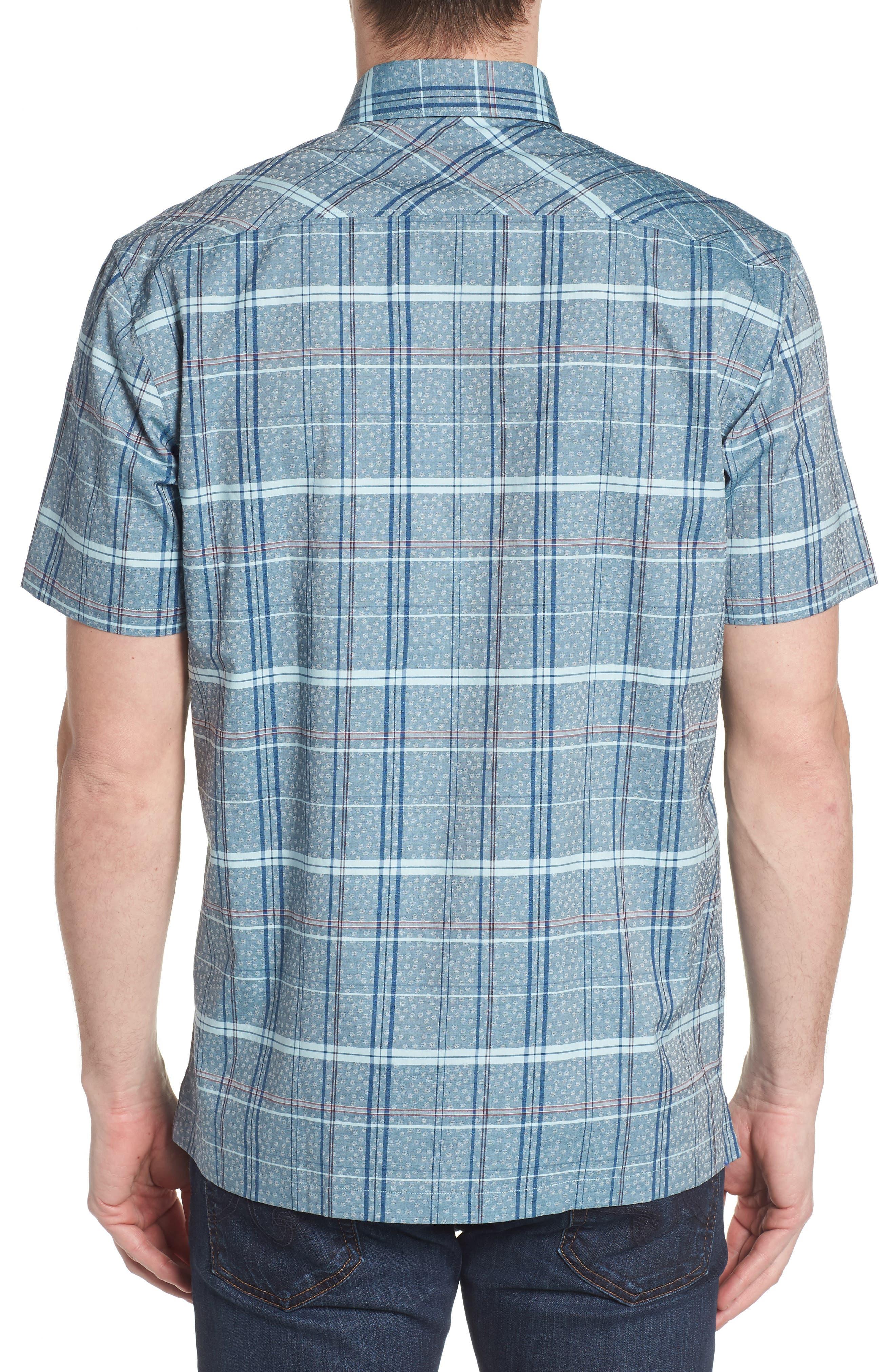Vacaso Regular Fit Plaid Jacquard Sport Shirt,                             Alternate thumbnail 3, color,                             Water