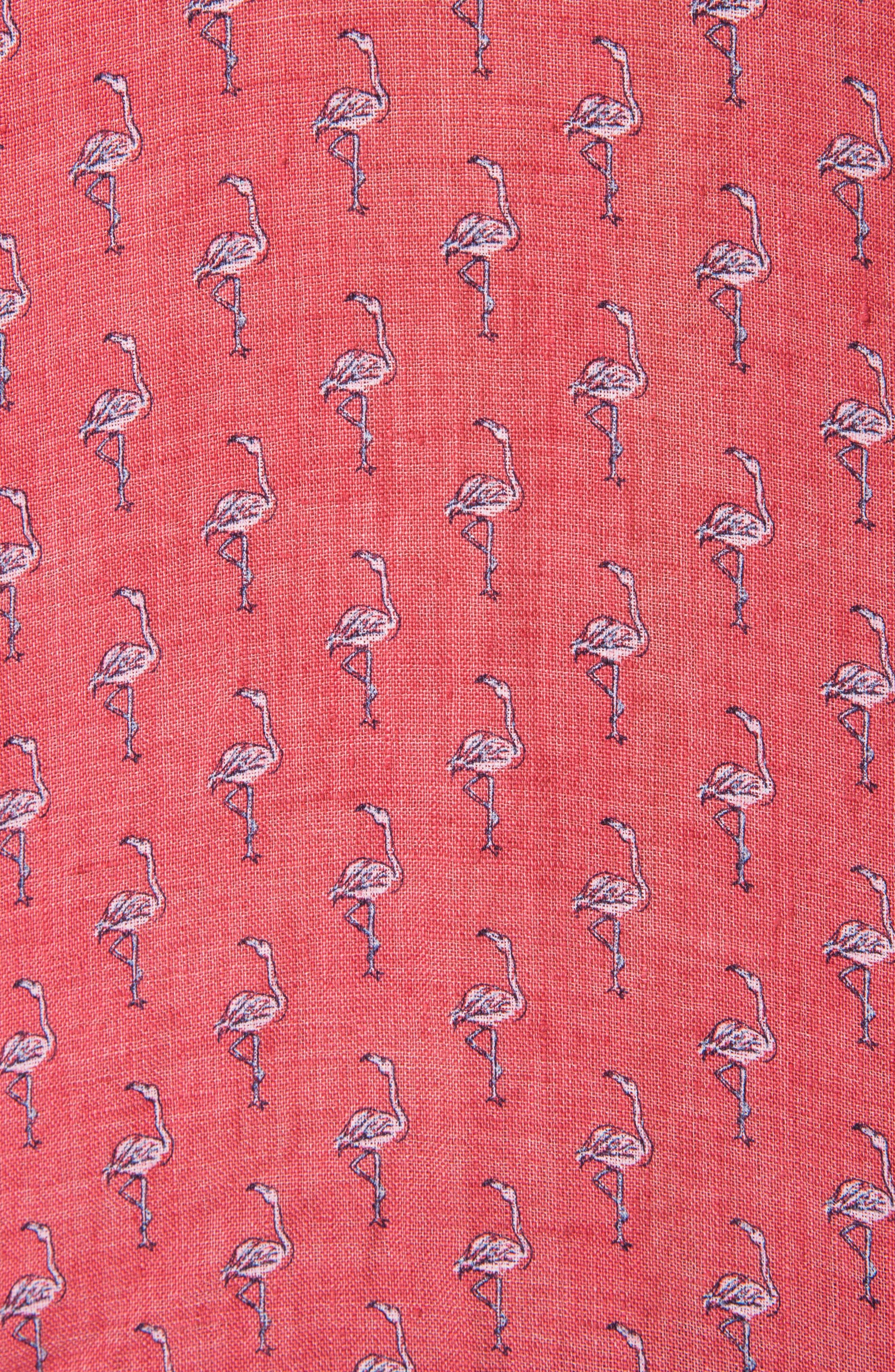 Hans Bay Sports Fit Flamingo Print Sport Shirt,                             Alternate thumbnail 4, color,                             Coral