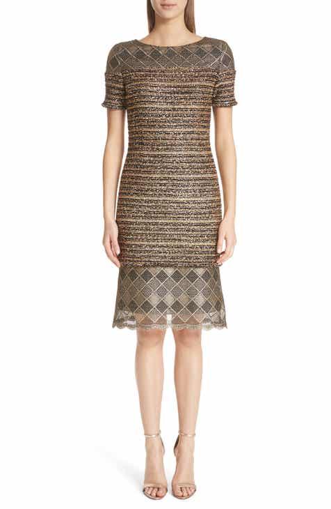 St John Collection Flashy Gold Stripe Knit Dress