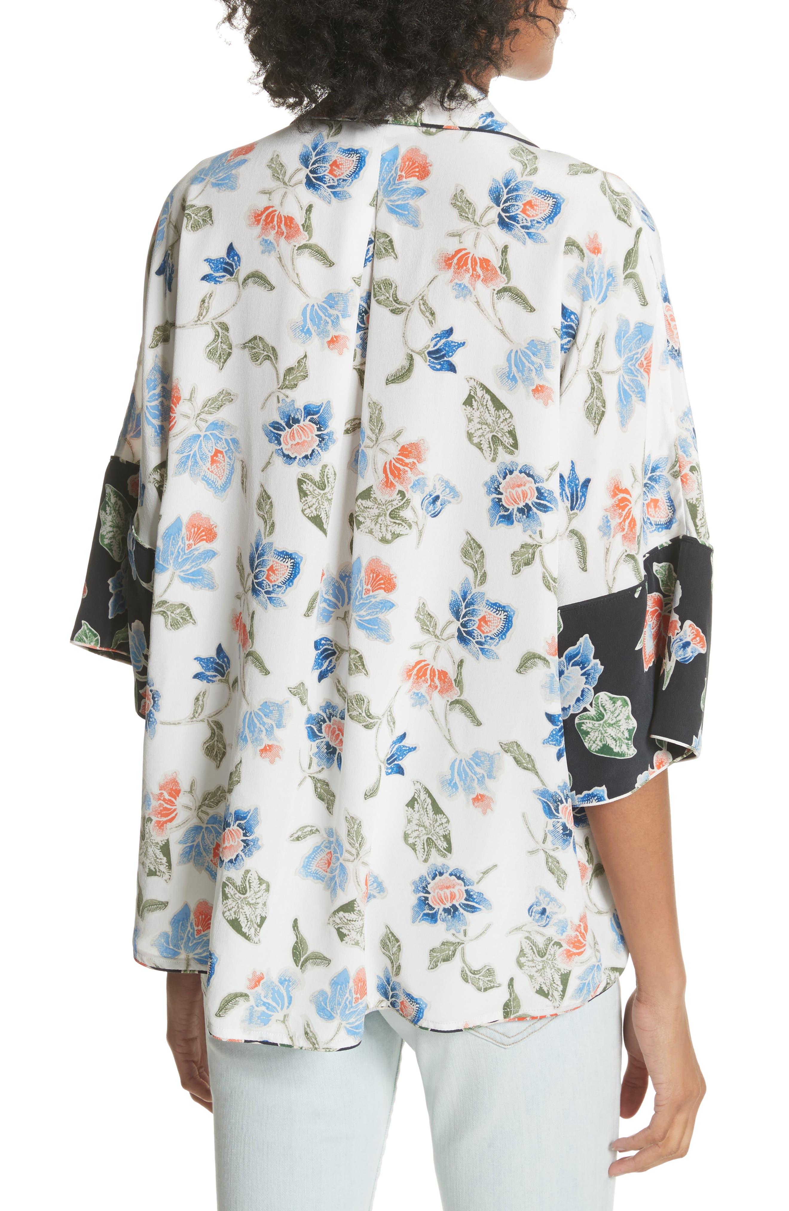 Desmonda Floral Contrast Cuff Silk Blouse,                             Alternate thumbnail 2, color,                             Porcelain