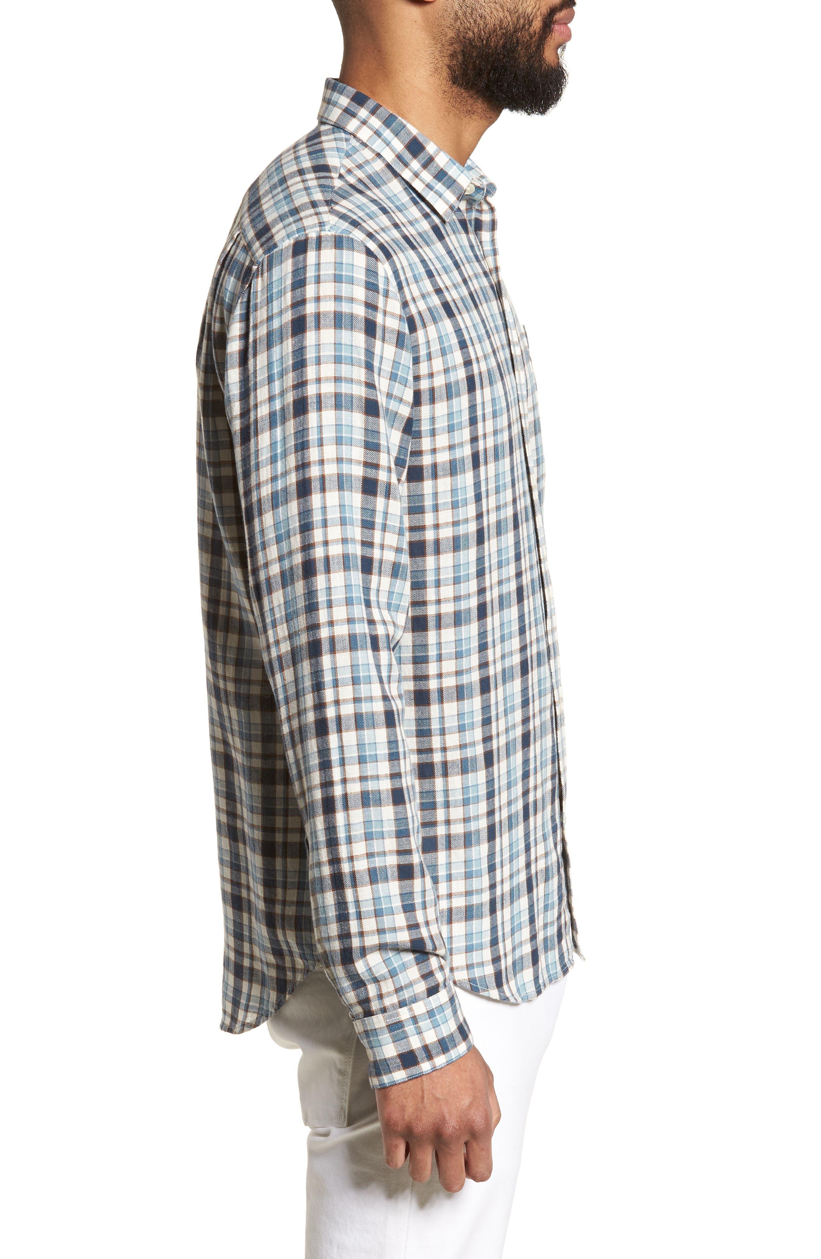 Slim Fit Plaid Sport Shirt,                             Alternate thumbnail 3, color,                             White/ Blue