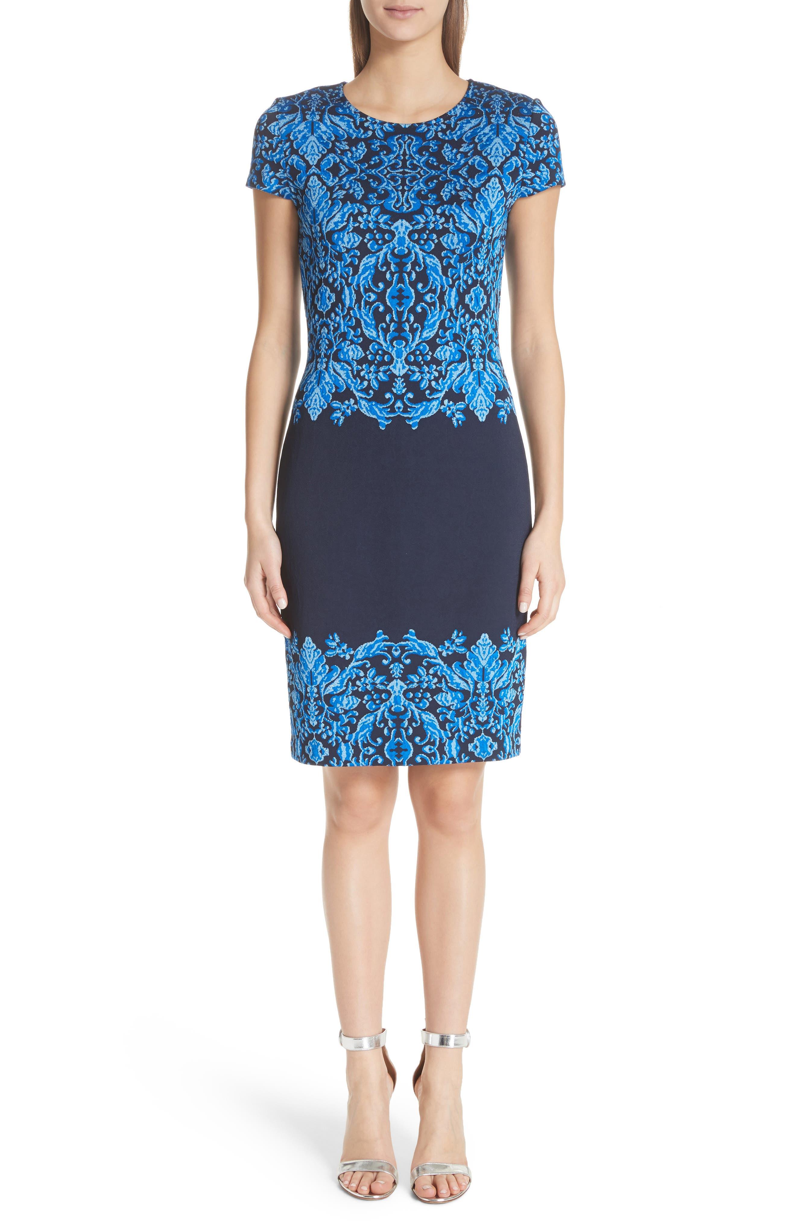 Cool Tones Brocade Knit Dress,                             Main thumbnail 1, color,                             Cobalt Multi