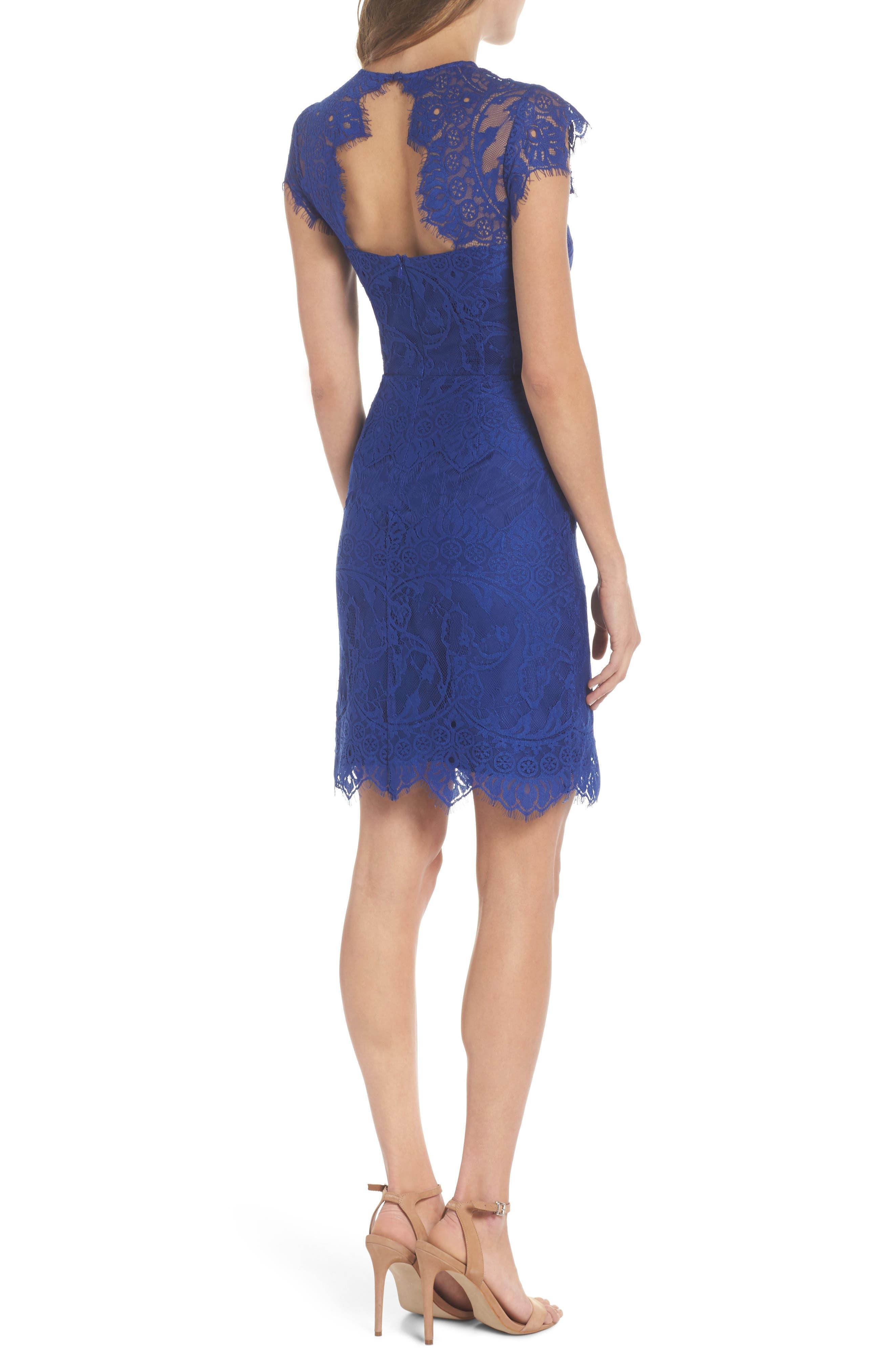 Jayce Lace Sheath Dress,                             Alternate thumbnail 2, color,                             Sapphire