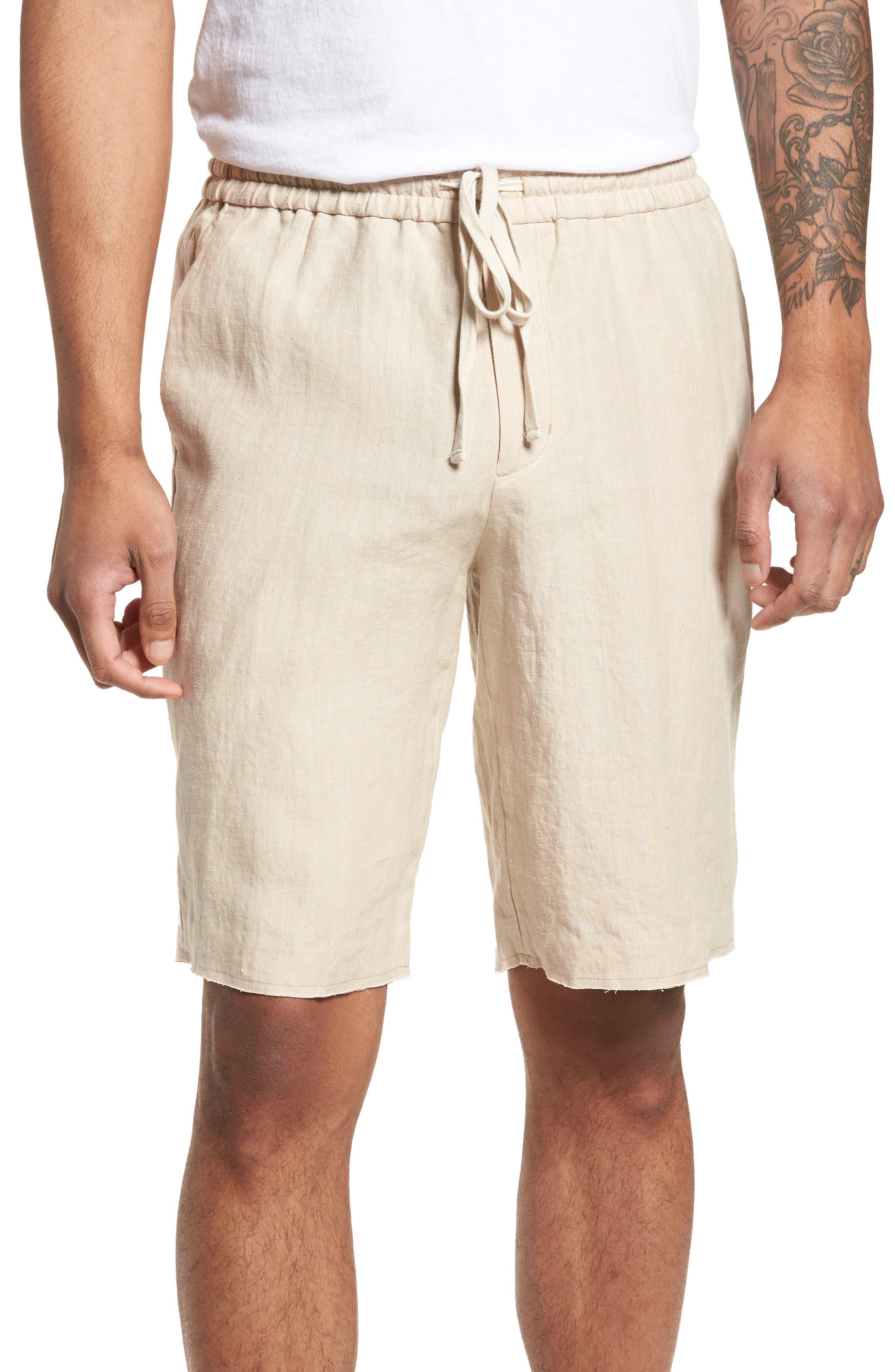 Raw Hem Slim Fit Track Shorts,                             Main thumbnail 1, color,                             White Sand