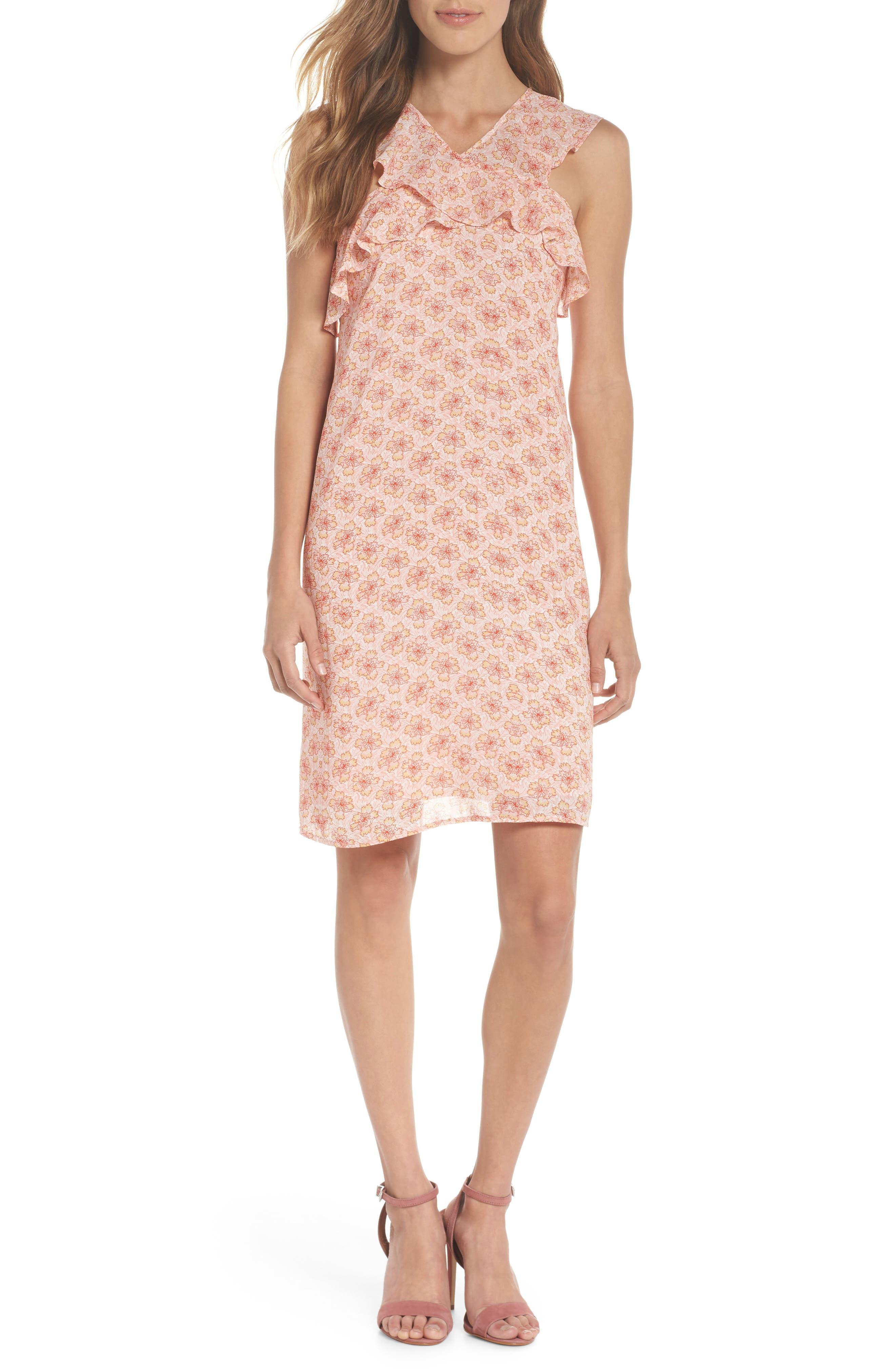 Crisscross Ruffle Shift Dress,                         Main,                         color, Pink Multi