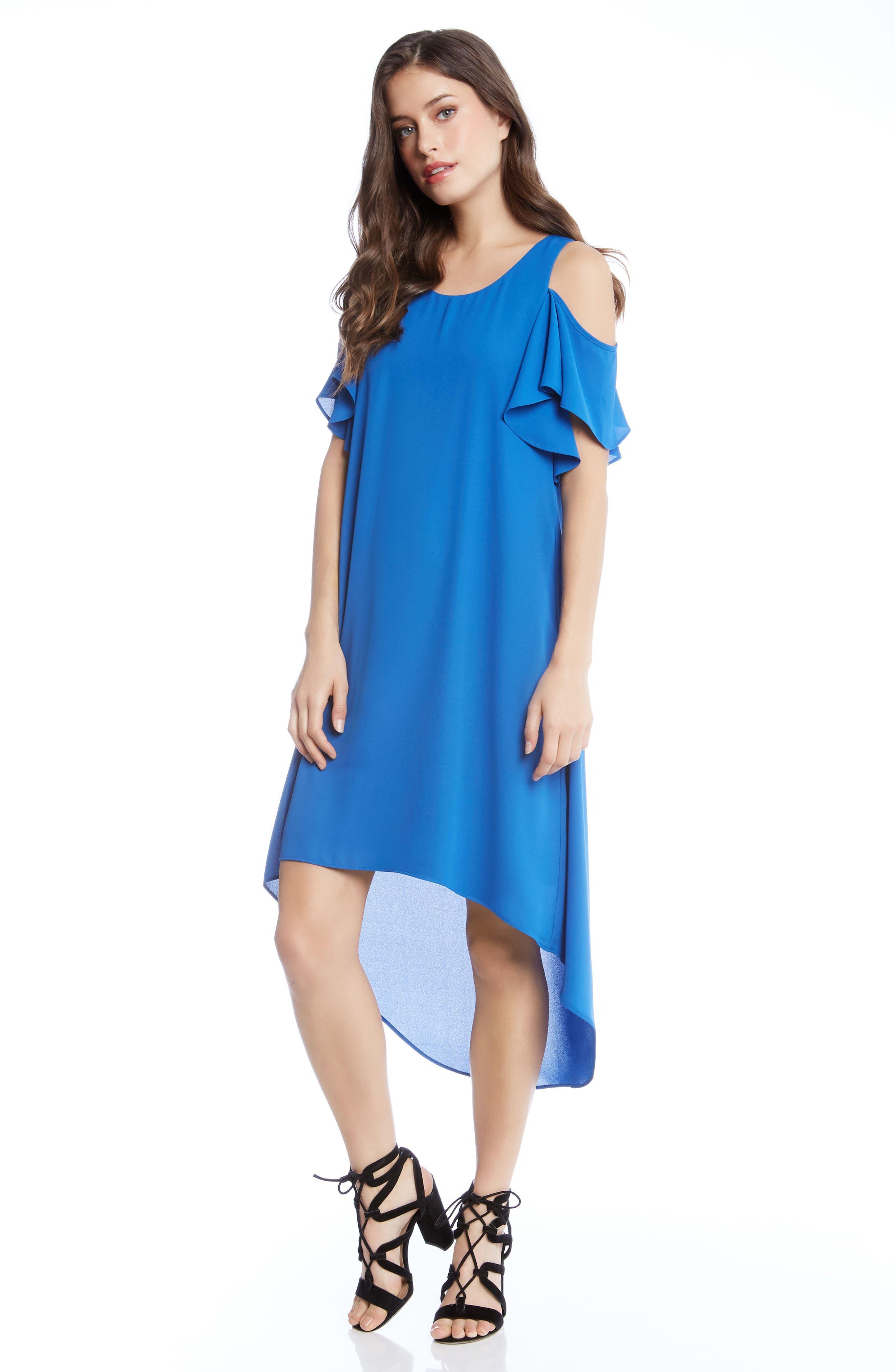 Cold Shoulder High/Low Dress,                             Alternate thumbnail 3, color,                             Cobalt