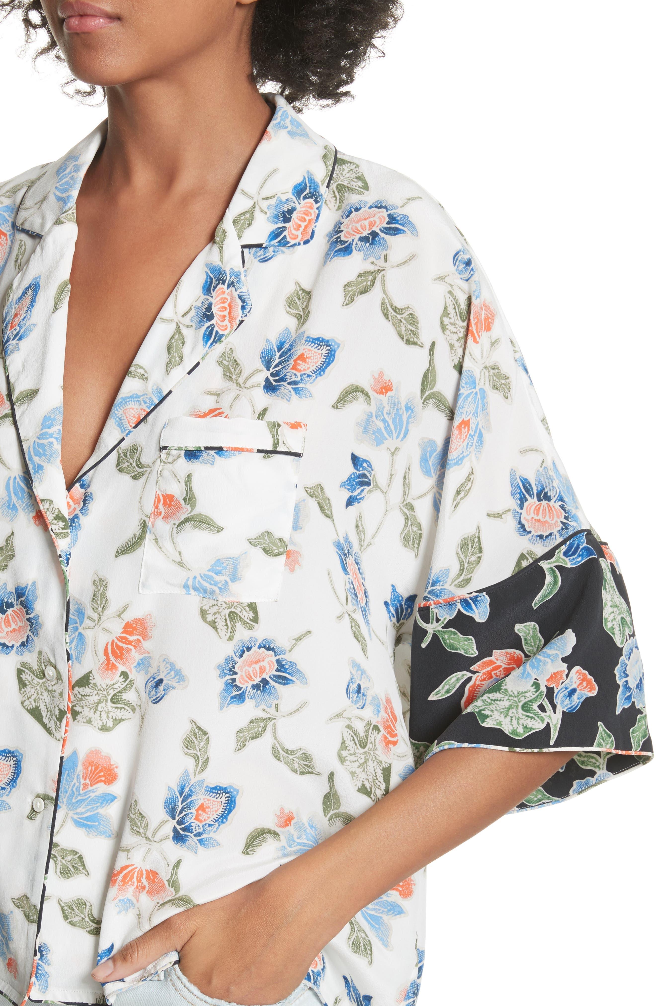 Desmonda Floral Contrast Cuff Silk Blouse,                             Alternate thumbnail 4, color,                             Porcelain