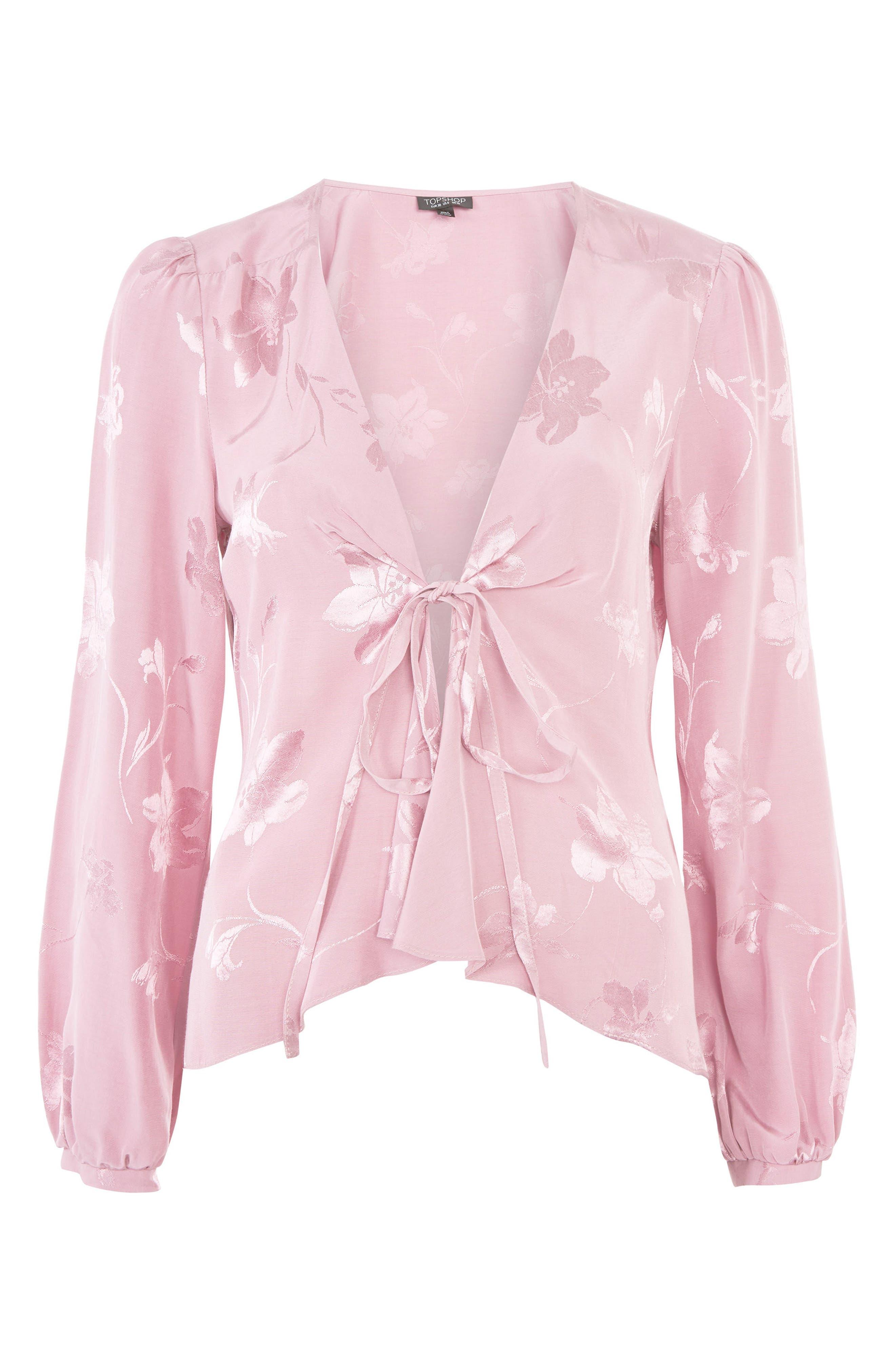 Floral Jacquard Blouse,                             Alternate thumbnail 3, color,                             Dusty Pink