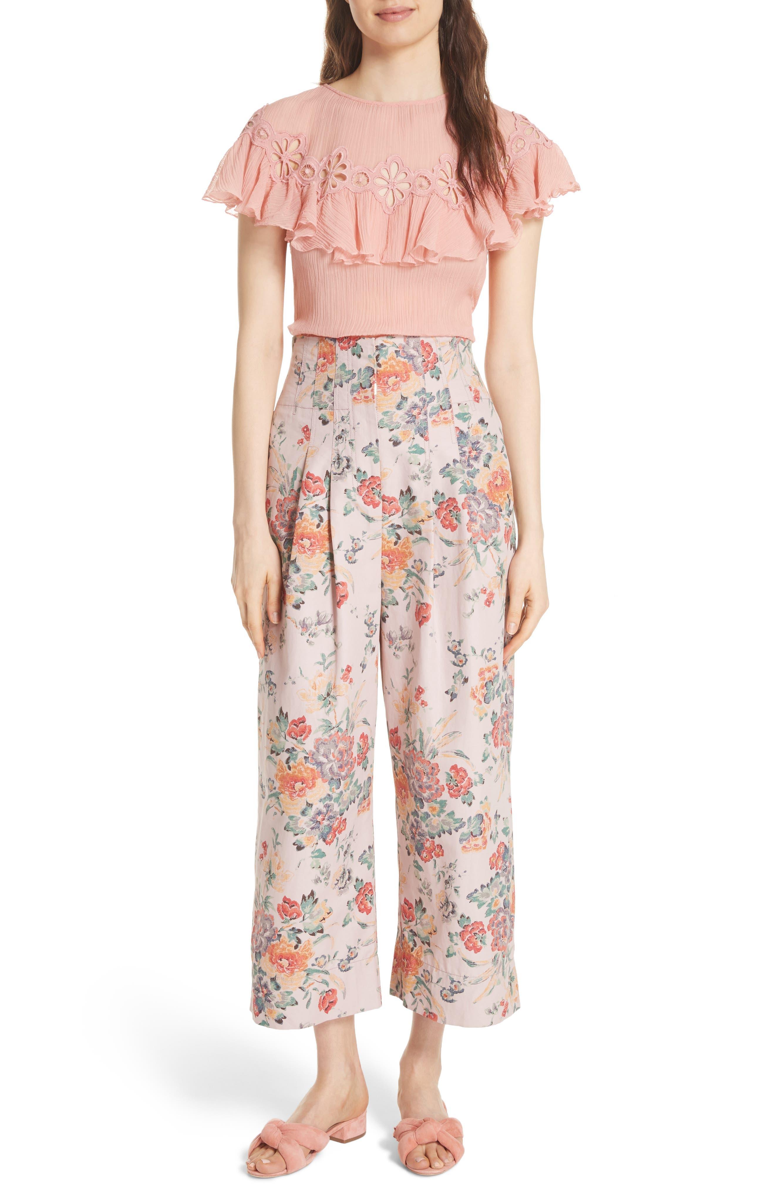 Marlena Floral Crop Pants,                             Alternate thumbnail 7, color,                             Dusty Rose Combo
