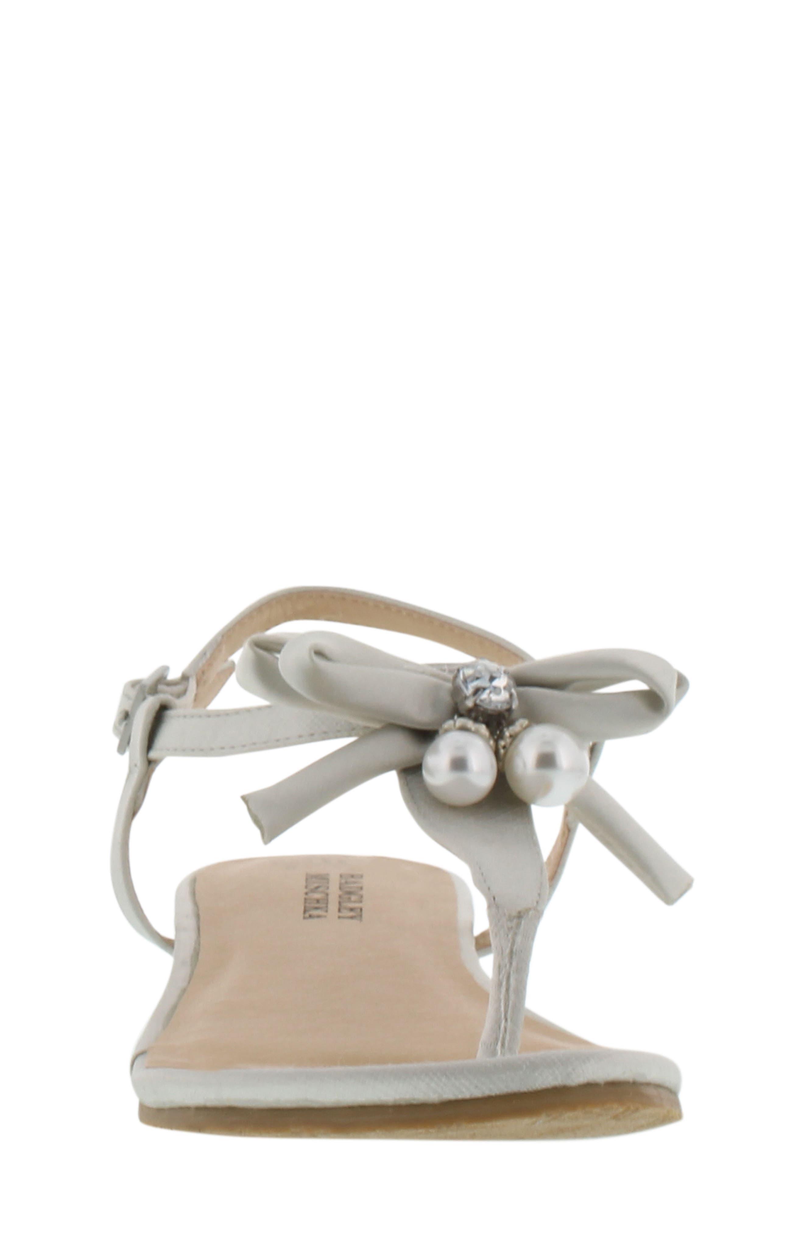 Talia Embellished Bow Sandal,                             Alternate thumbnail 4, color,                             Silver