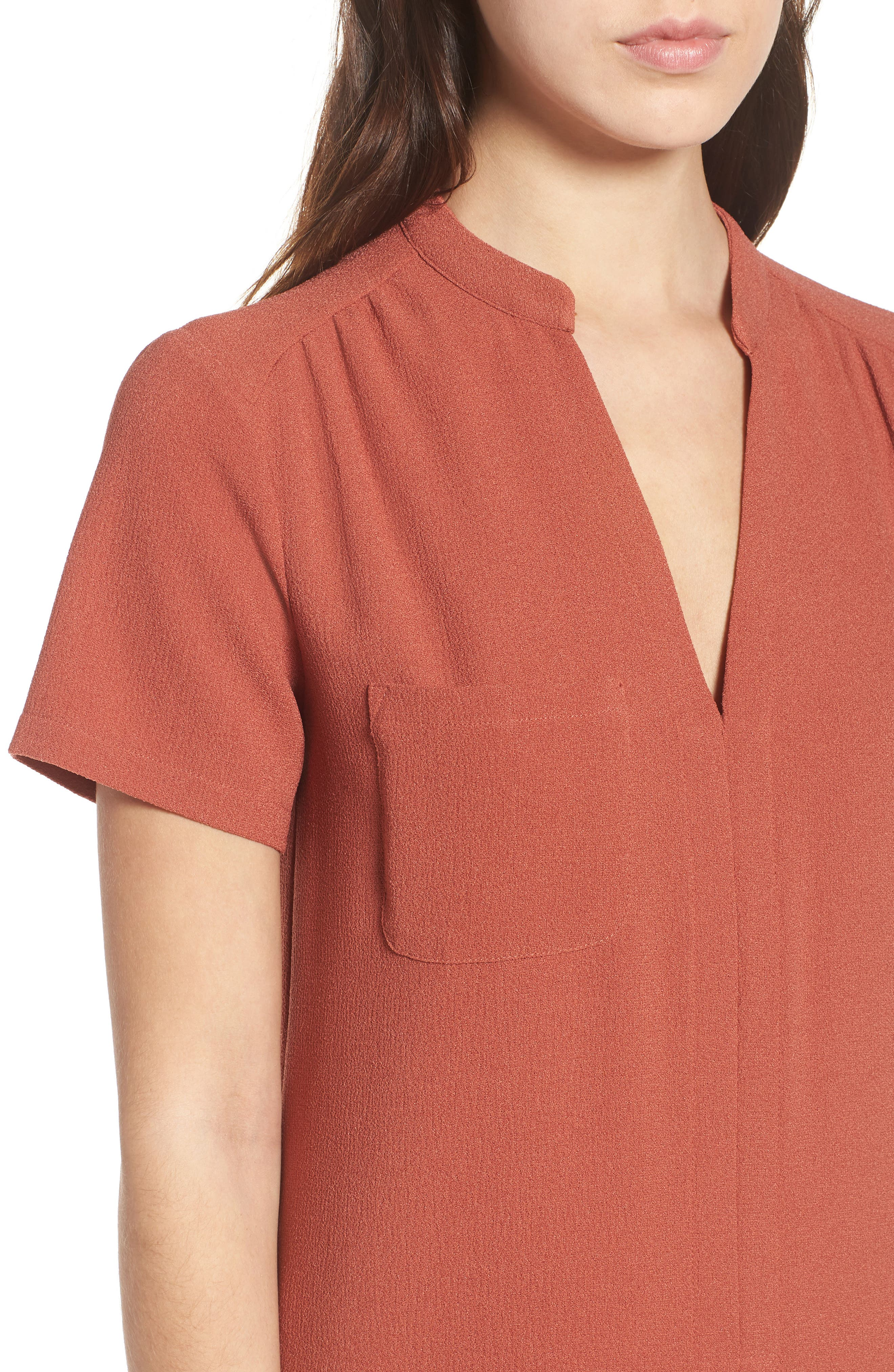 Hailey Crepe Dress,                             Alternate thumbnail 2, color,                             Rust Marsala