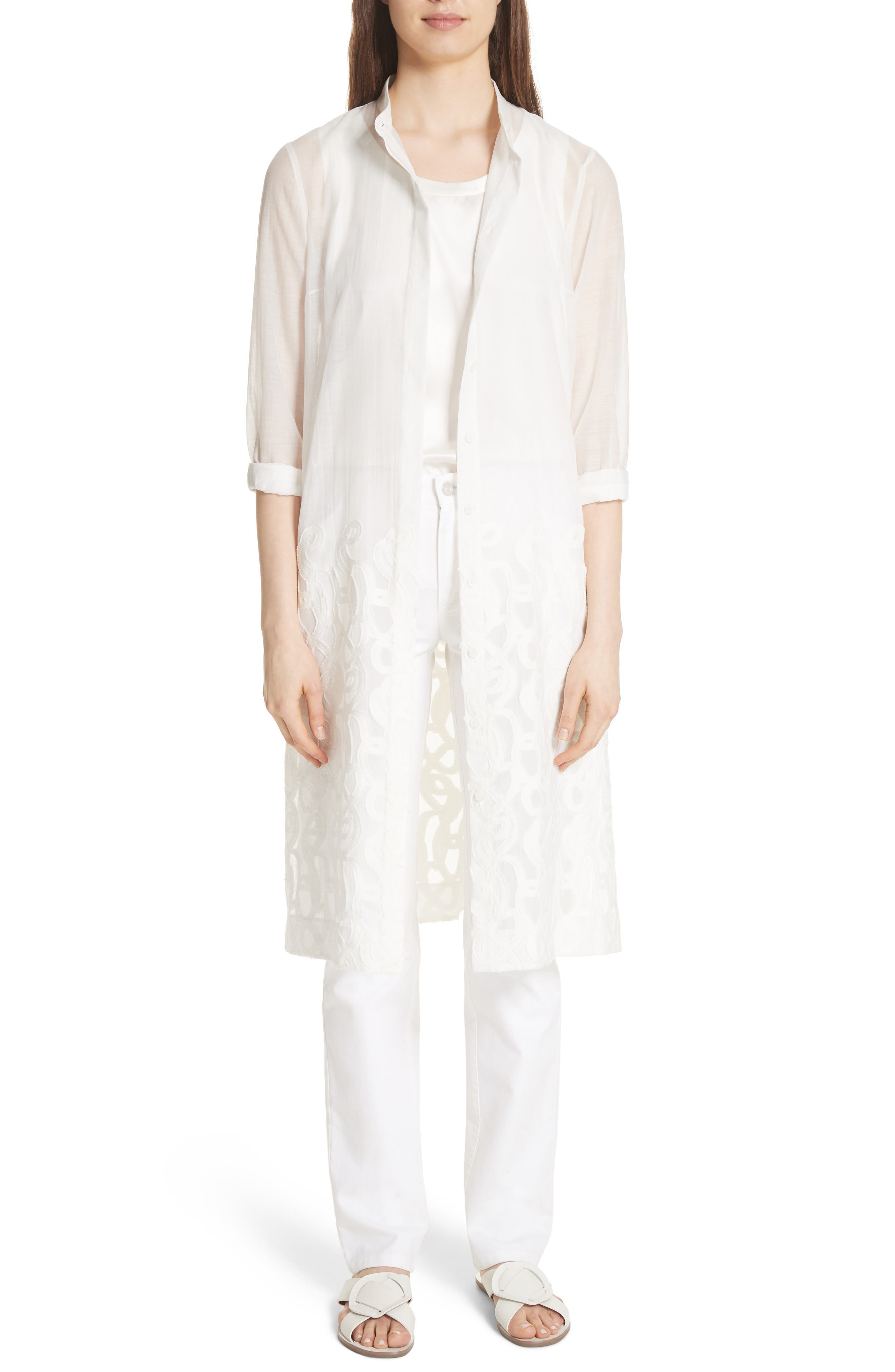 Embroidered Hem Tunic,                         Main,                         color, Gesso