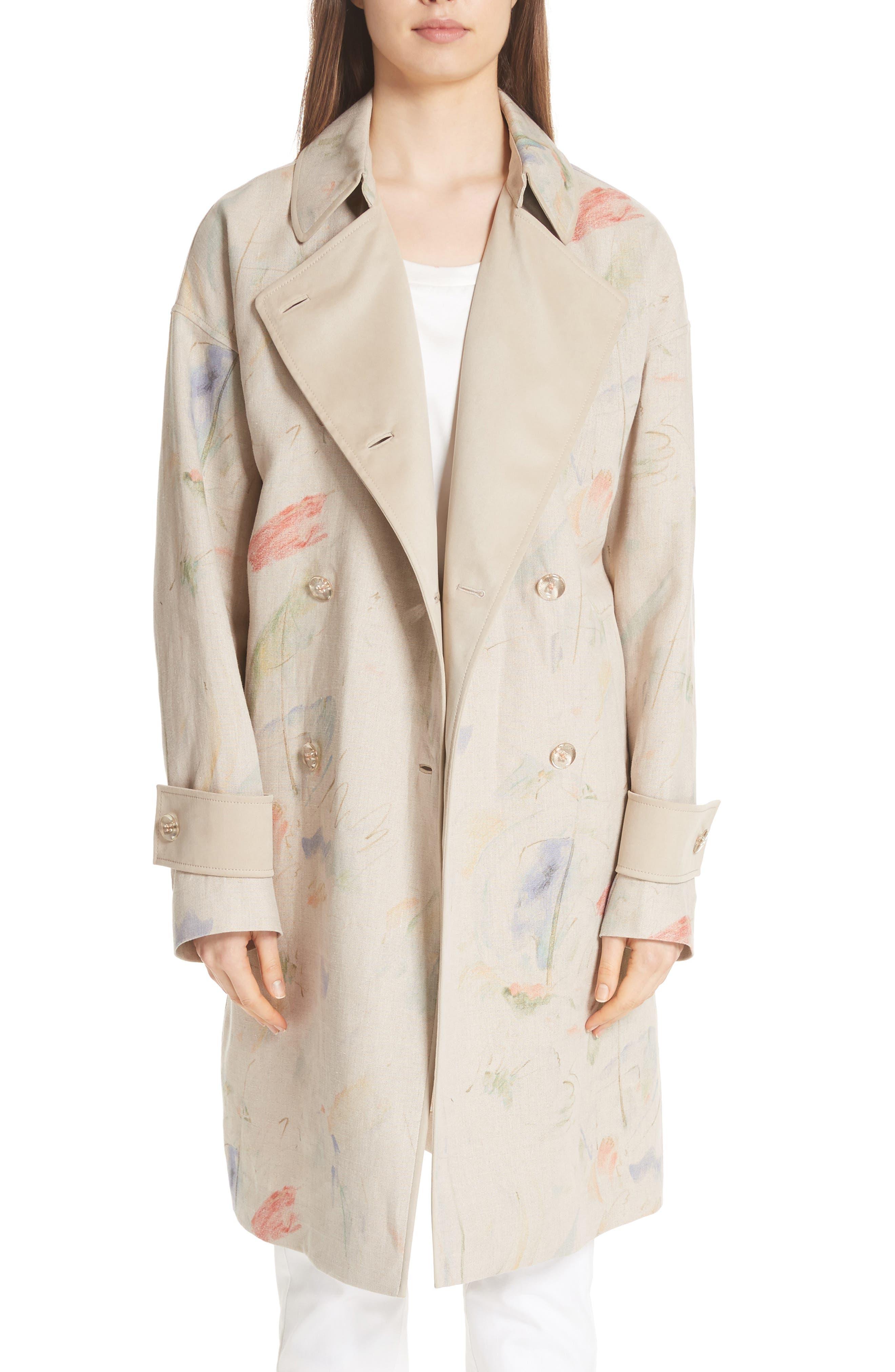 Laurita Linen Trench Coat,                         Main,                         color, Soba Multi