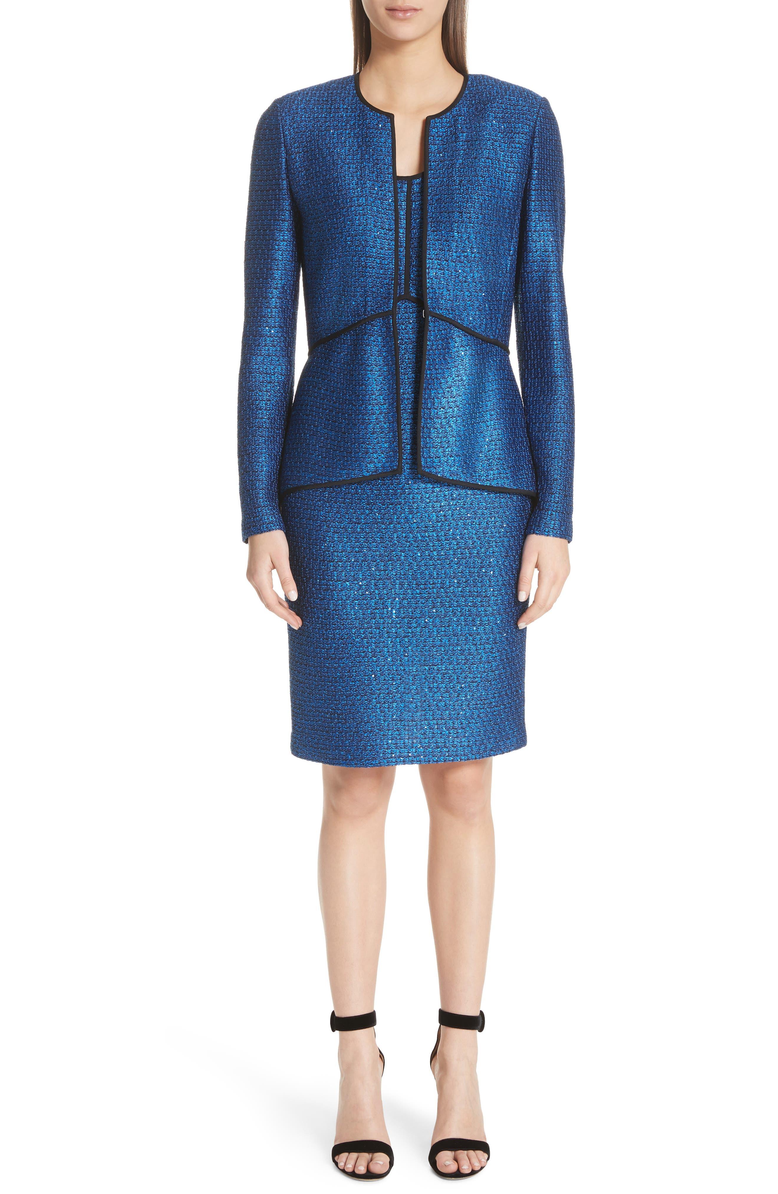 Luster Sequin Knit Jacket,                             Alternate thumbnail 8, color,                             Cobalt Multi