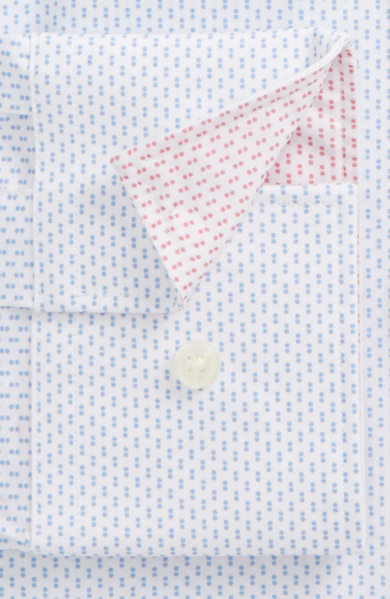 Endurance Barged Slim Fit Double Dot Dress Shirt,                             Alternate thumbnail 2, color,                             Blue