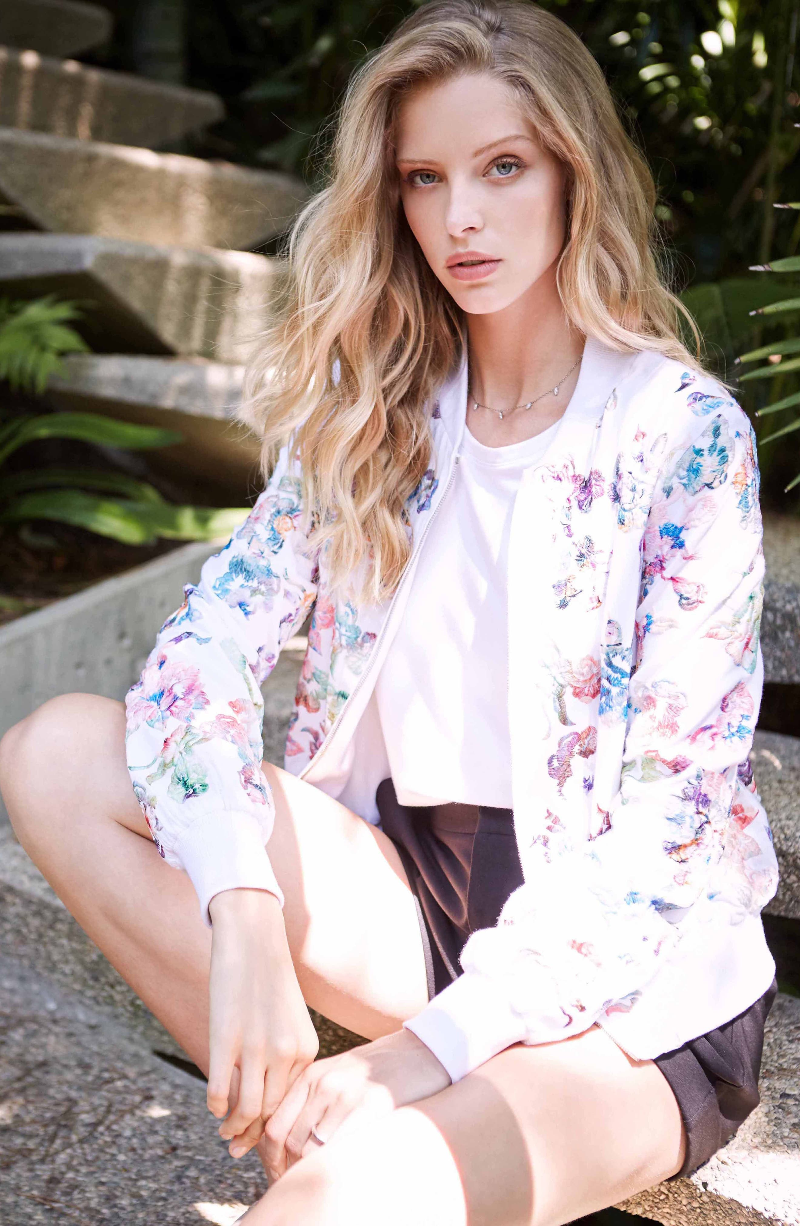 Embroidered Floral Bomber Jacket,                             Alternate thumbnail 2, color,                             Multi-Colored