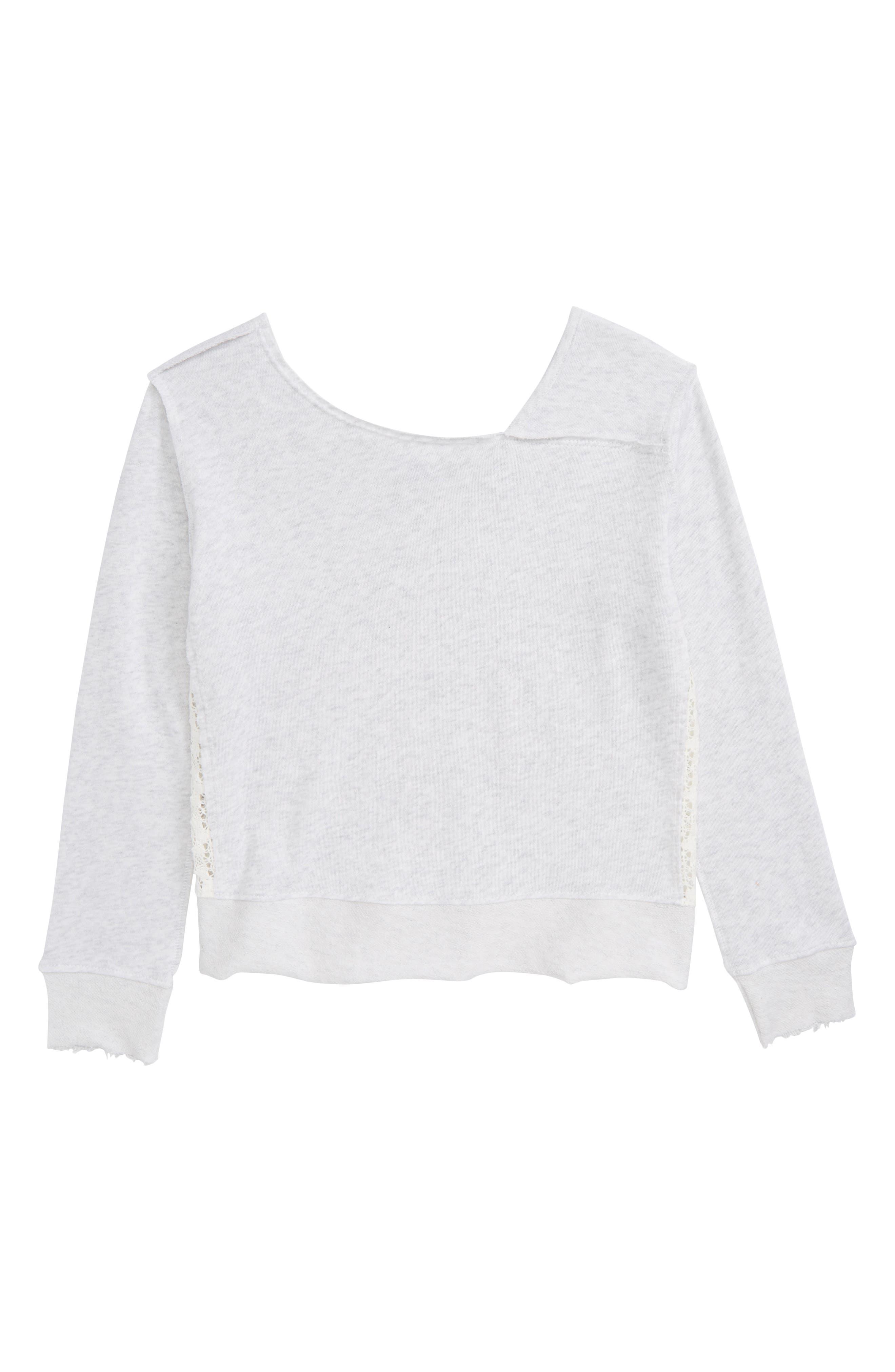Lace Inset Sweatshirt,                         Main,                         color, Light Grey Heather