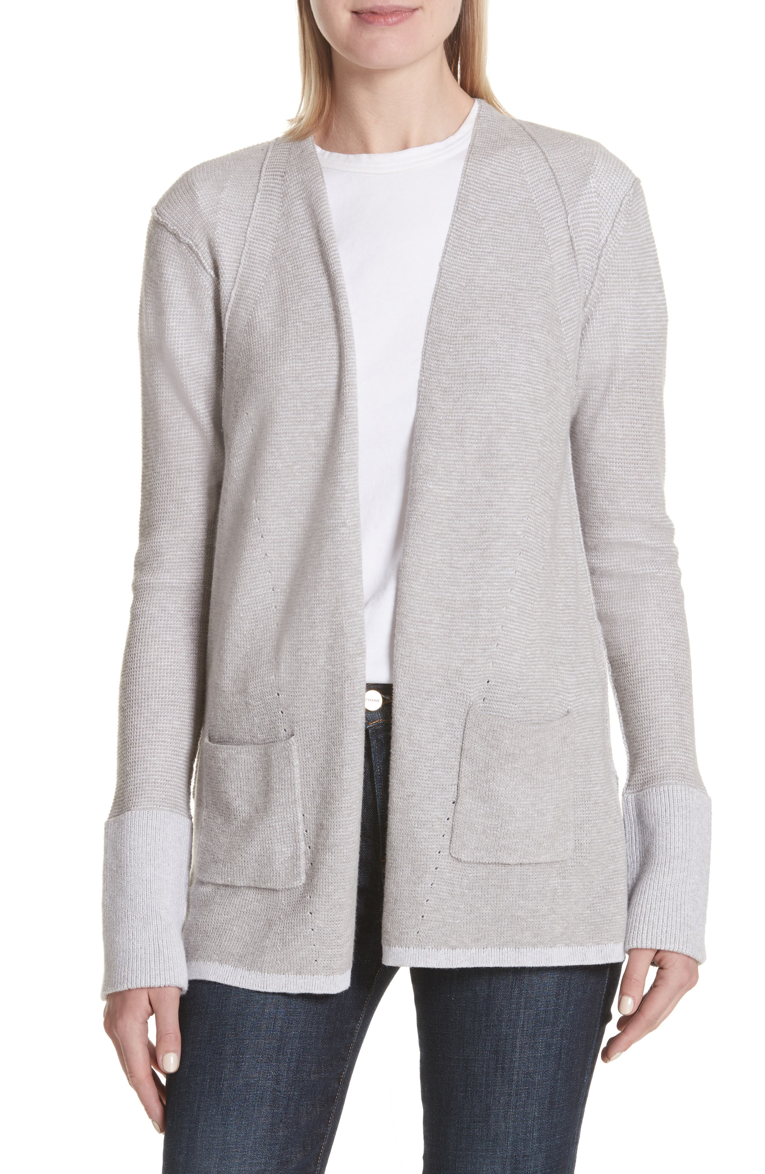 Cotton & Cashmere Waffle Knit Cardigan,                         Main,                         color, Heather Grey