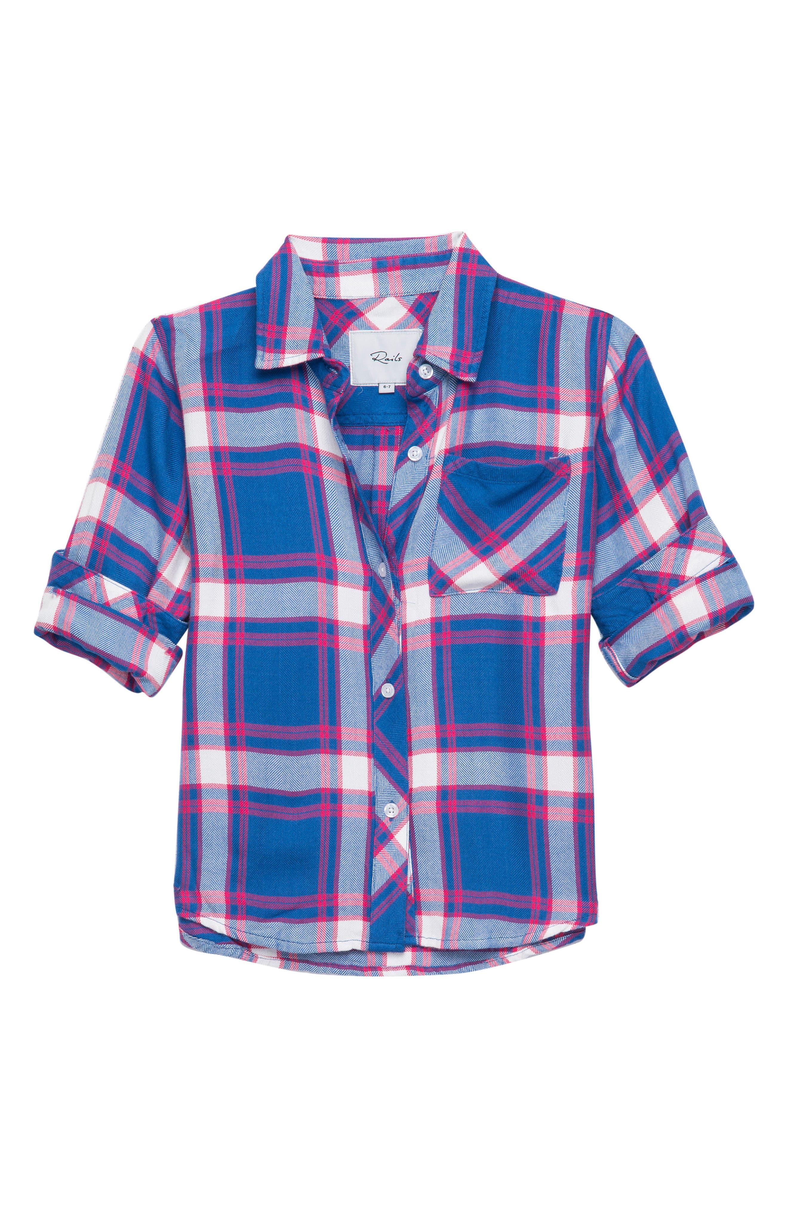 Hudson Plaid Shirt,                             Main thumbnail 1, color,                             Ruby Sky White