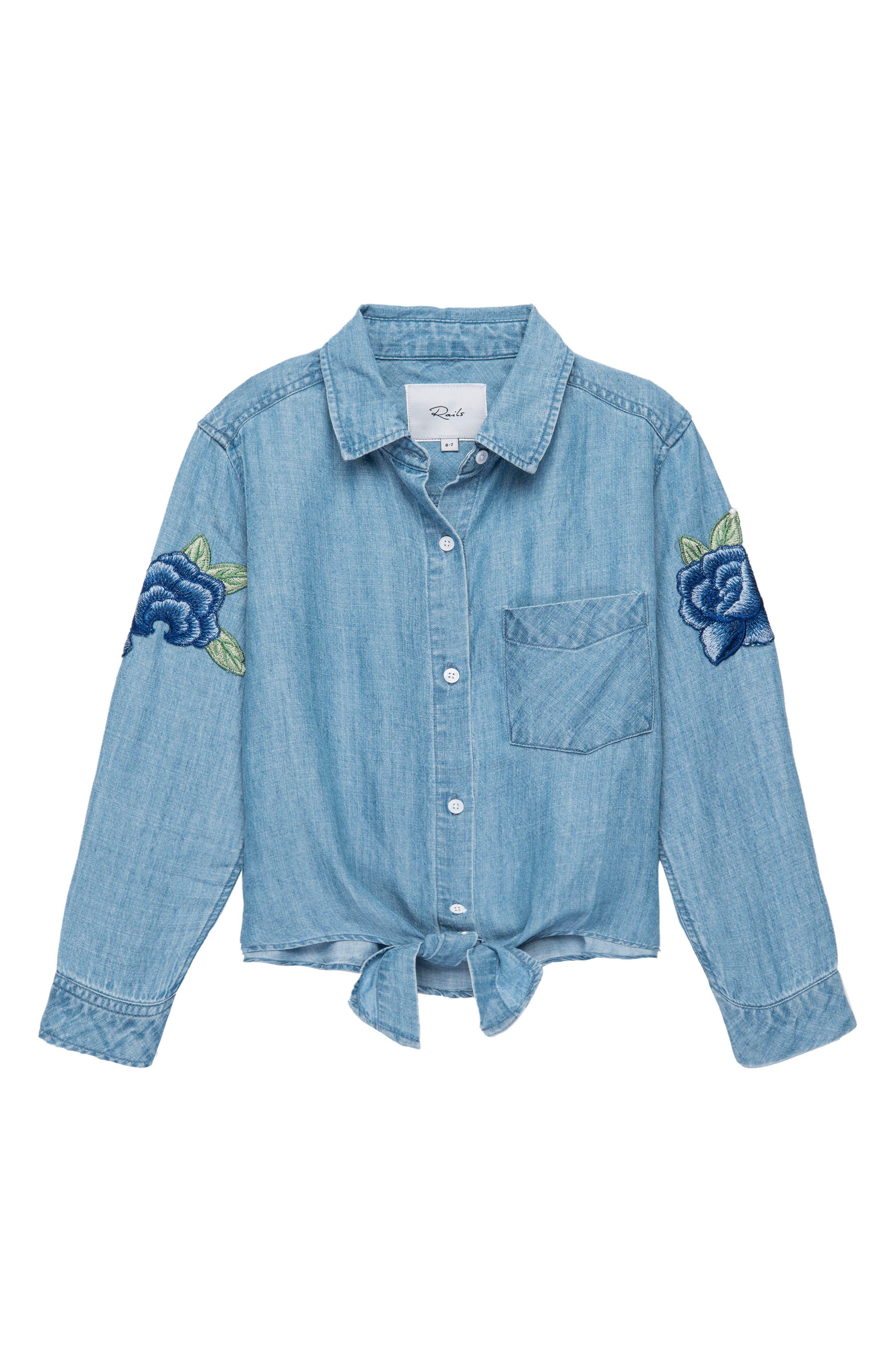 Main Image - Rails Valerie Flower Appliqué Shirt (Big Girls)